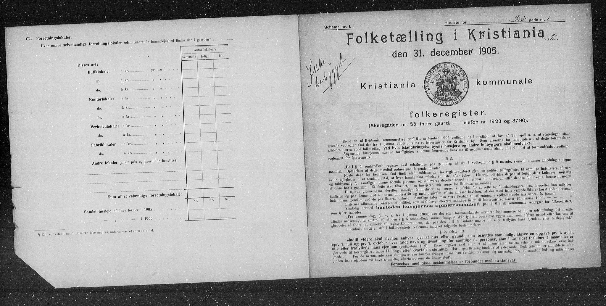 OBA, Municipal Census 1905 for Kristiania, 1905, p. 5789