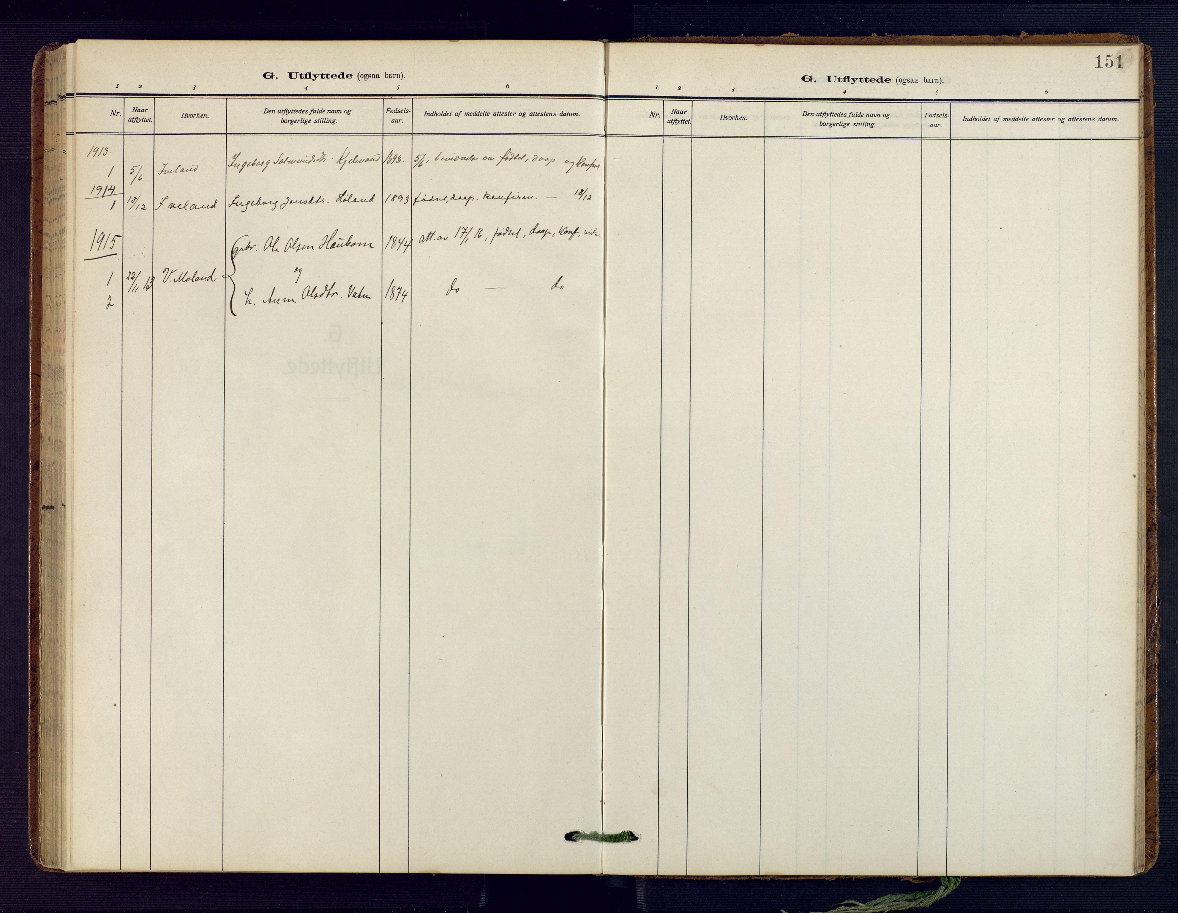 SAK, Herefoss sokneprestkontor, F/Fa/Fab/L0005: Parish register (official) no. A 5, 1910-1932, p. 151