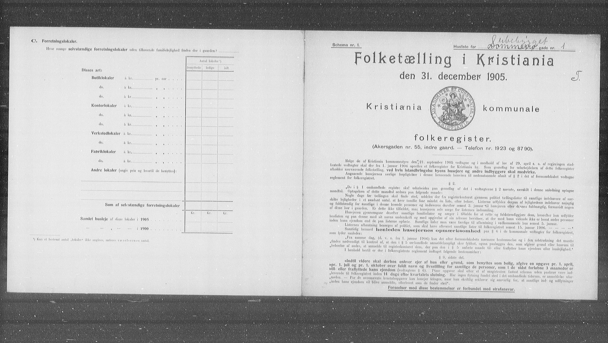 OBA, Municipal Census 1905 for Kristiania, 1905, p. 51743