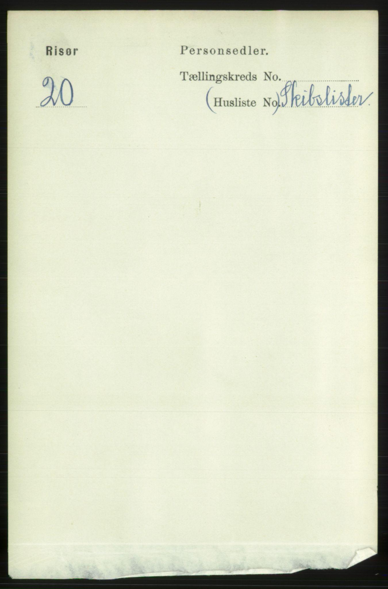 RA, 1891 census for 0901 Risør, 1891, p. 4167