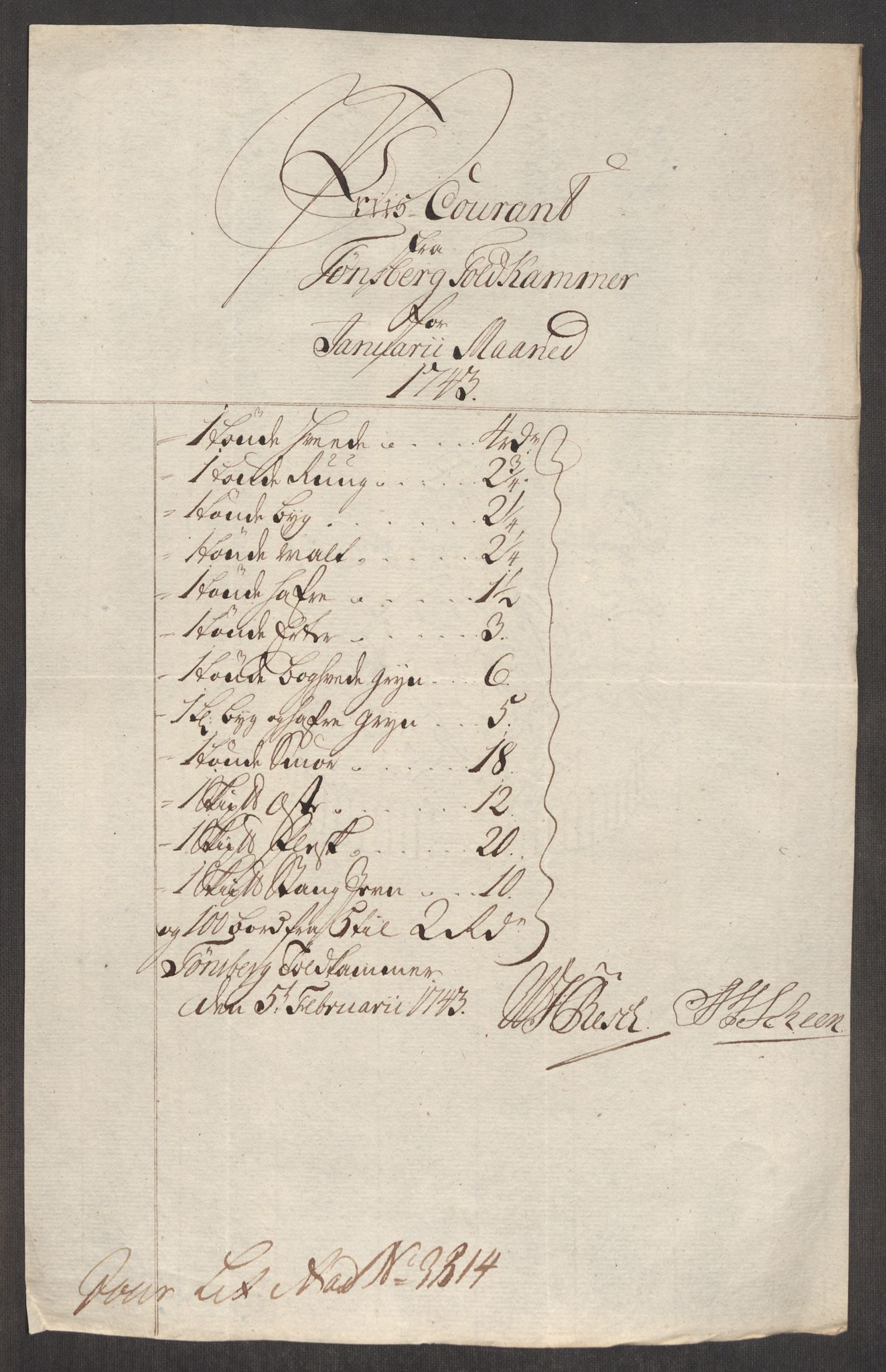 RA, Rentekammeret inntil 1814, Realistisk ordnet avdeling, Oe/L0002: [Ø1]: Priskuranter, 1740-1744, p. 698