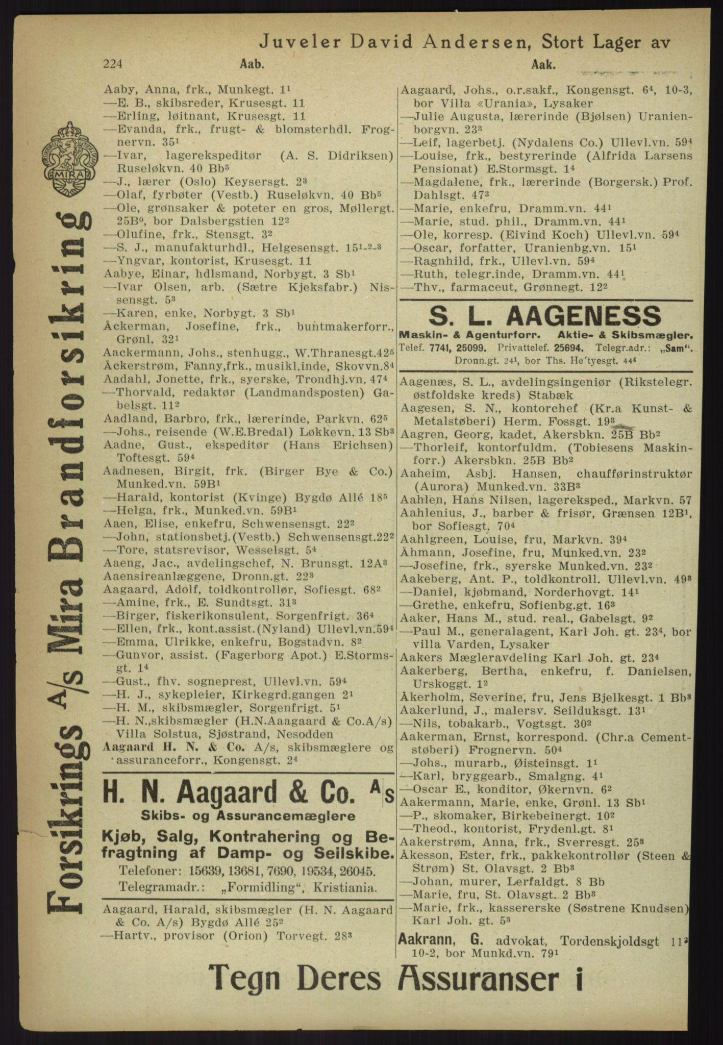 PUBL, Kristiania/Oslo adressebok, 1918, p. 249