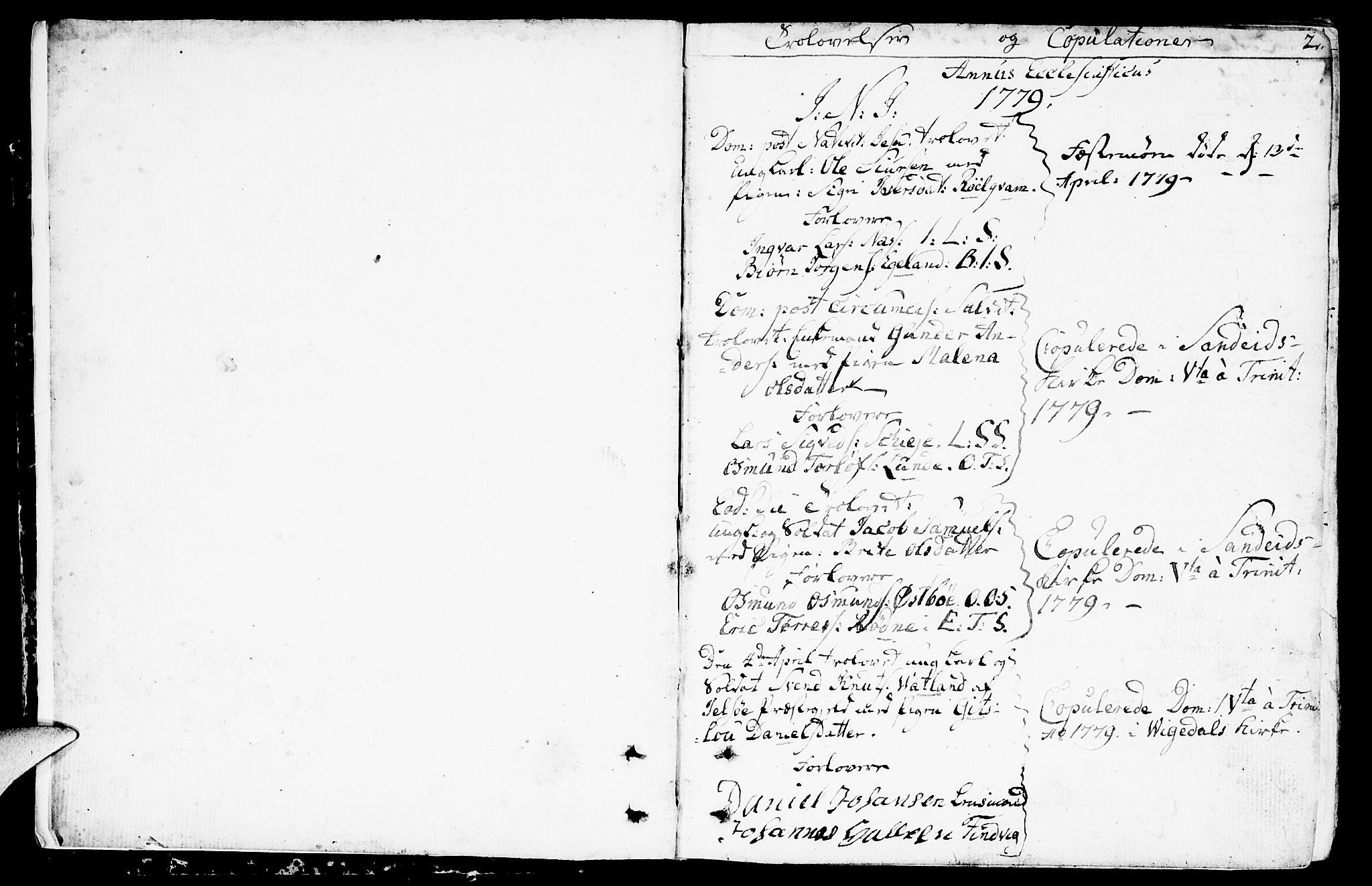 SAST, Vikedal sokneprestkontor, IV: Parish register (official) no. A 2, 1779-1817, p. 2