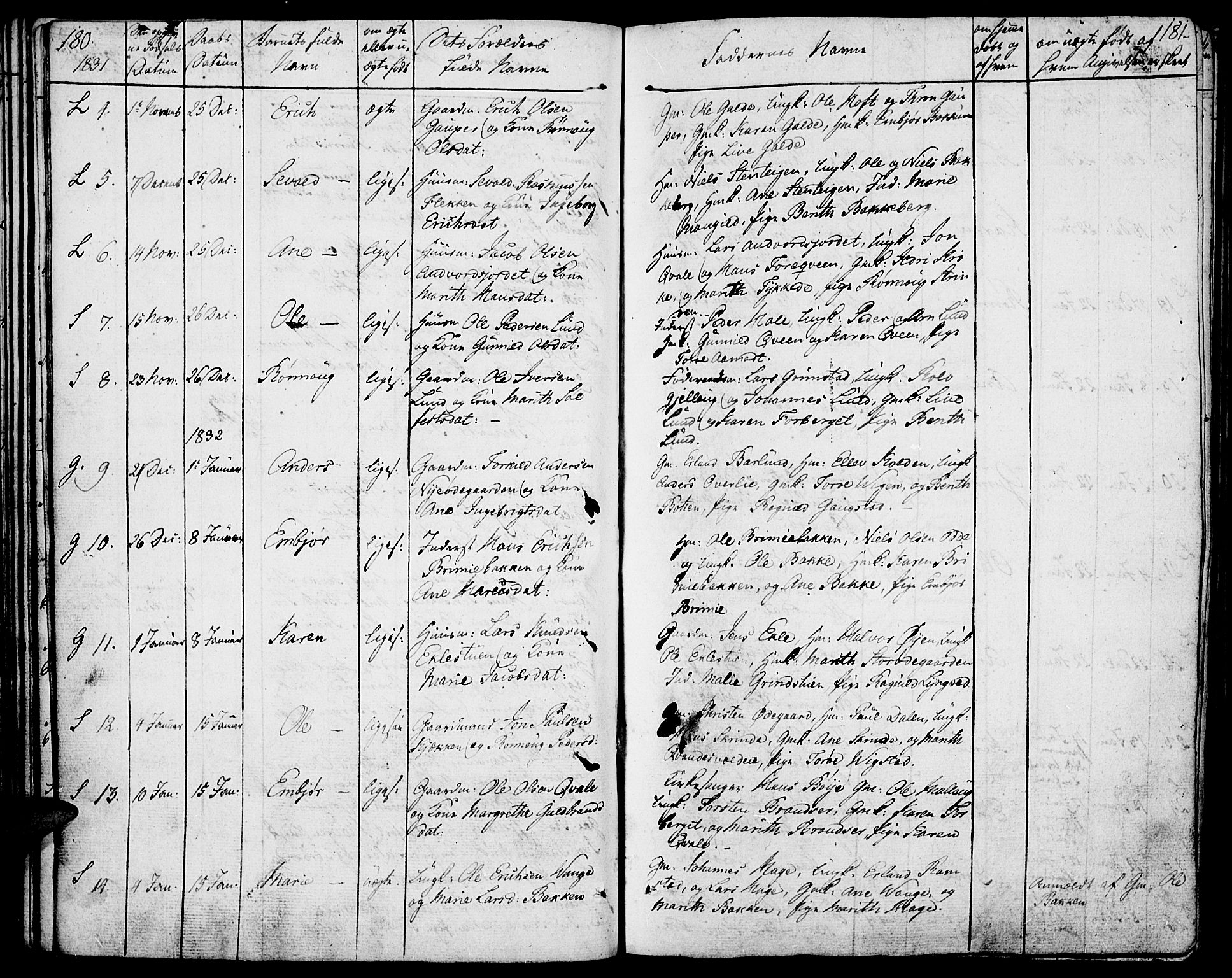 SAH, Lom prestekontor, K/L0005: Parish register (official) no. 5, 1825-1837, p. 180-181
