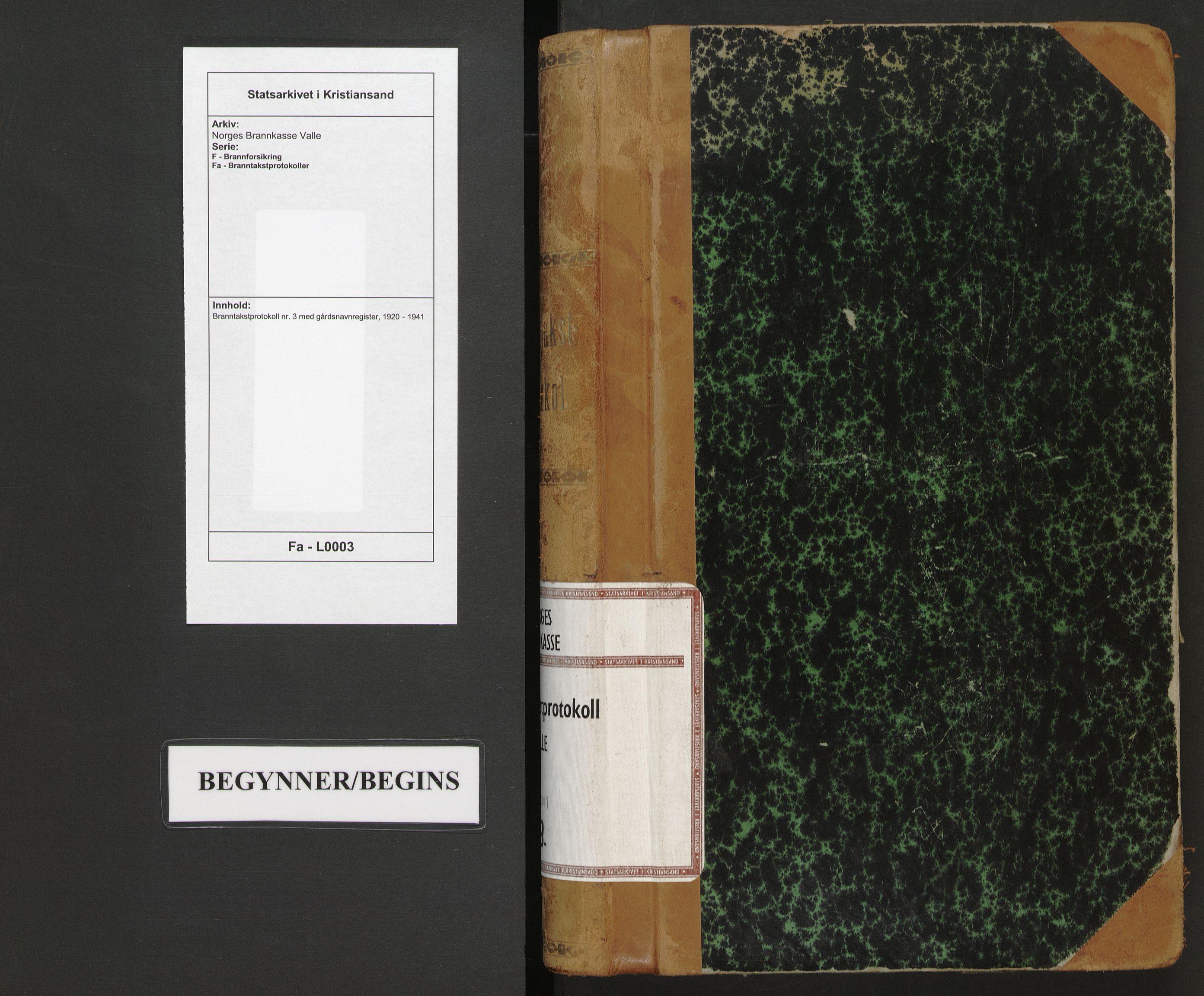 SAK, Norges Brannkasse Valle, F/Fa/L0003: Branntakstprotokoll nr. 3 med gårdsnavnregister, 1920-1941