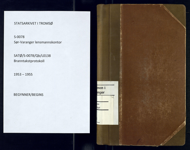 SATØ, Sør-Varanger lensmannskontor, Qb/L0138: Branntakstprotokoller Med reg., 1953-1955