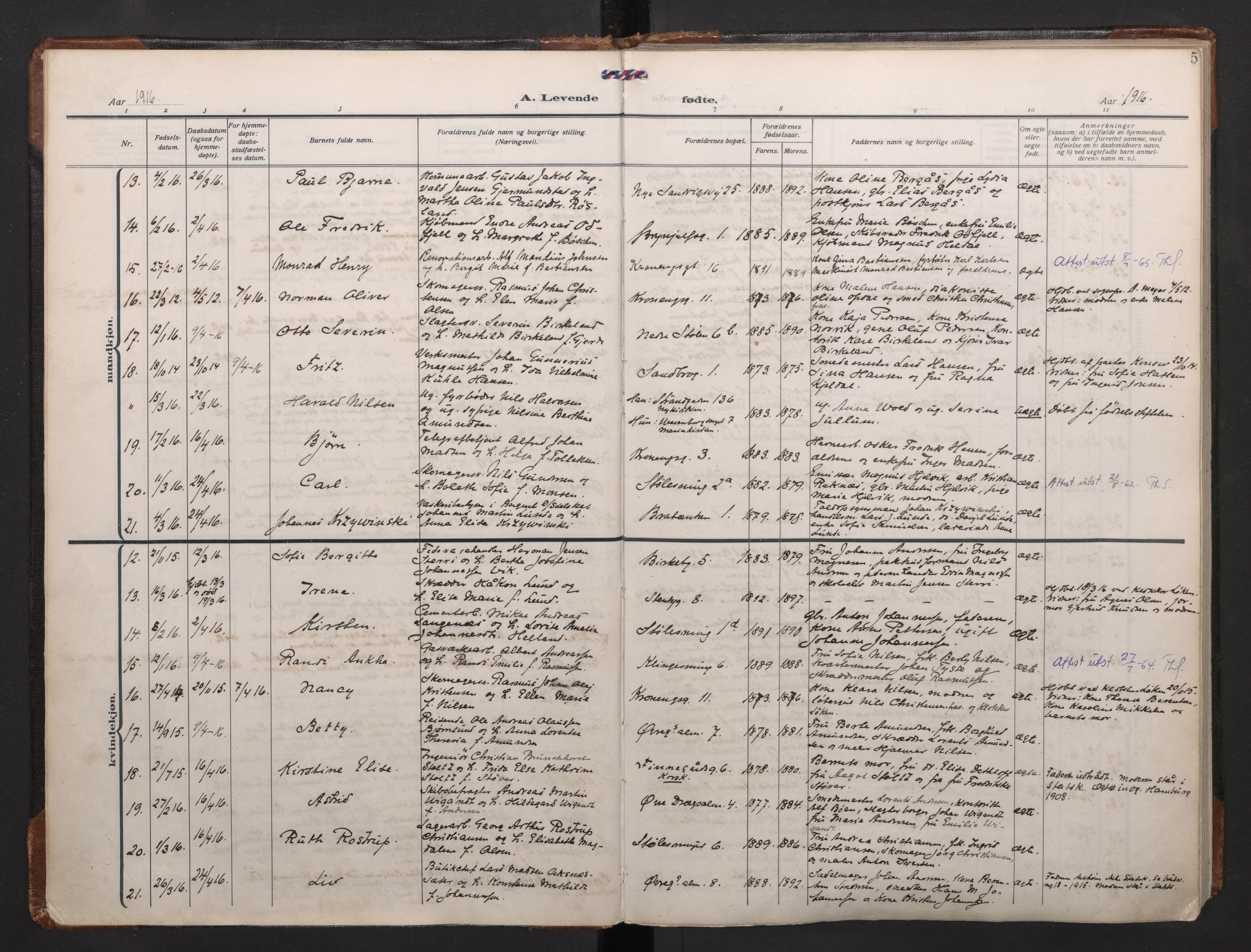 SAB, Mariakirken Sokneprestembete, H/Haa/L0011: Parish register (official) no. B 2, 1916-1934, p. 4b-5a