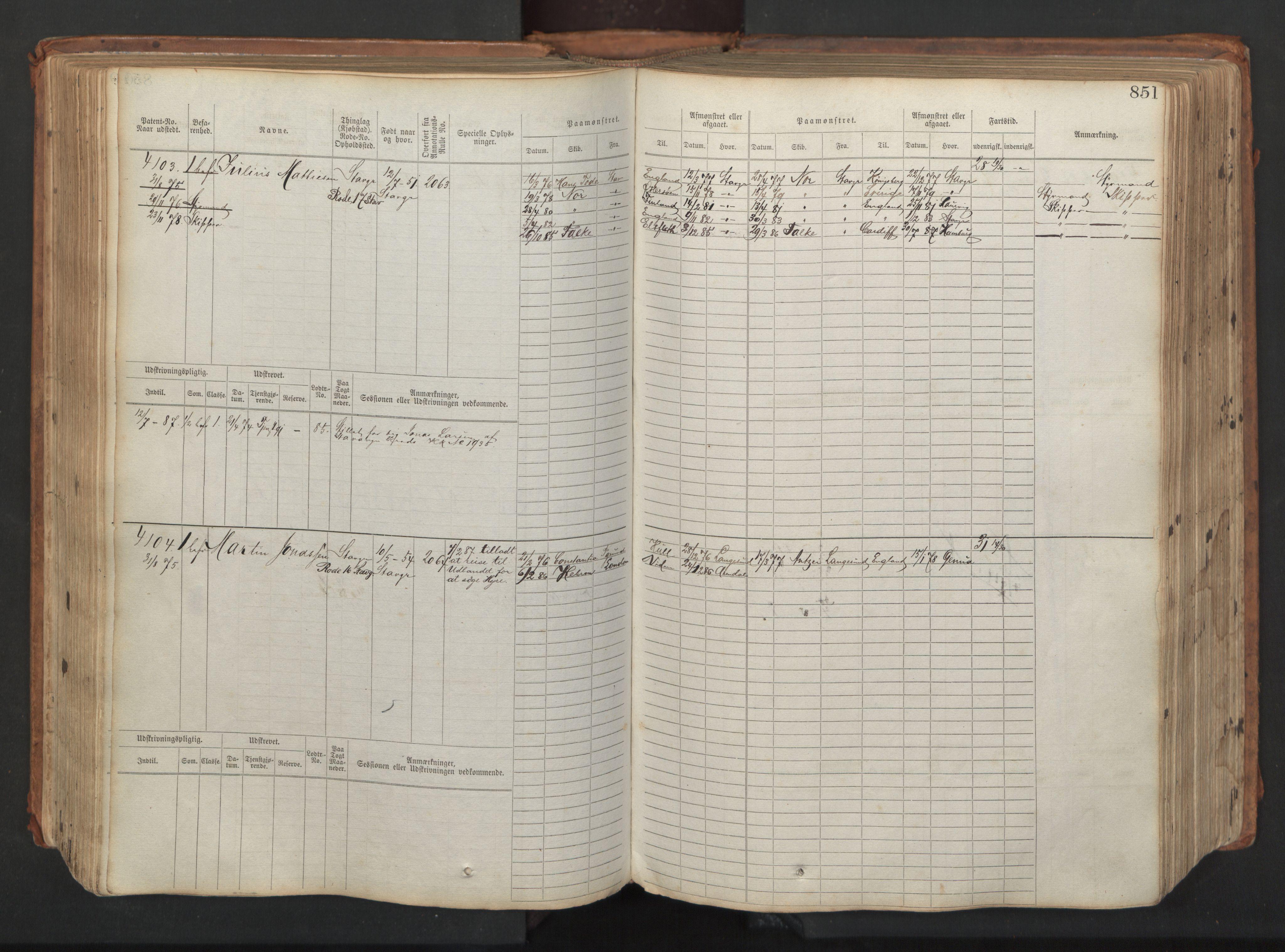 SAST, Stavanger sjømannskontor, F/Fb/Fbb/L0008: Sjøfartshovedrulle, patentnr. 3605-4804, 1873, p. 292