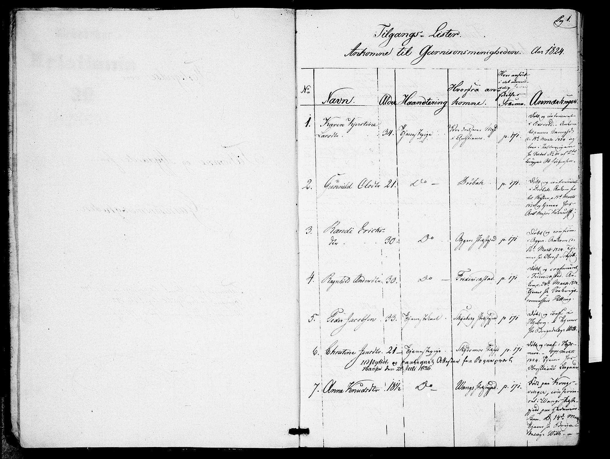 SAO, Garnisonsmenigheten Kirkebøker, F/Fa/L0005: Parish register (official) no. 5, 1824-1830, p. 0-1