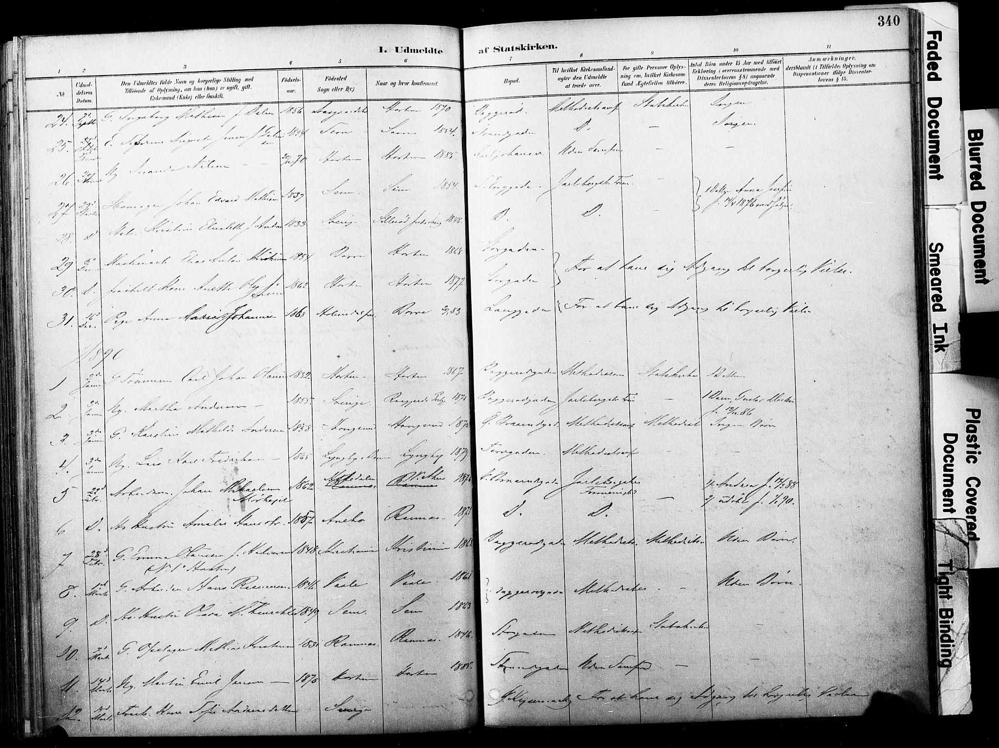 SAKO, Horten kirkebøker, F/Fa/L0004: Parish register (official) no. 4, 1888-1895, p. 340