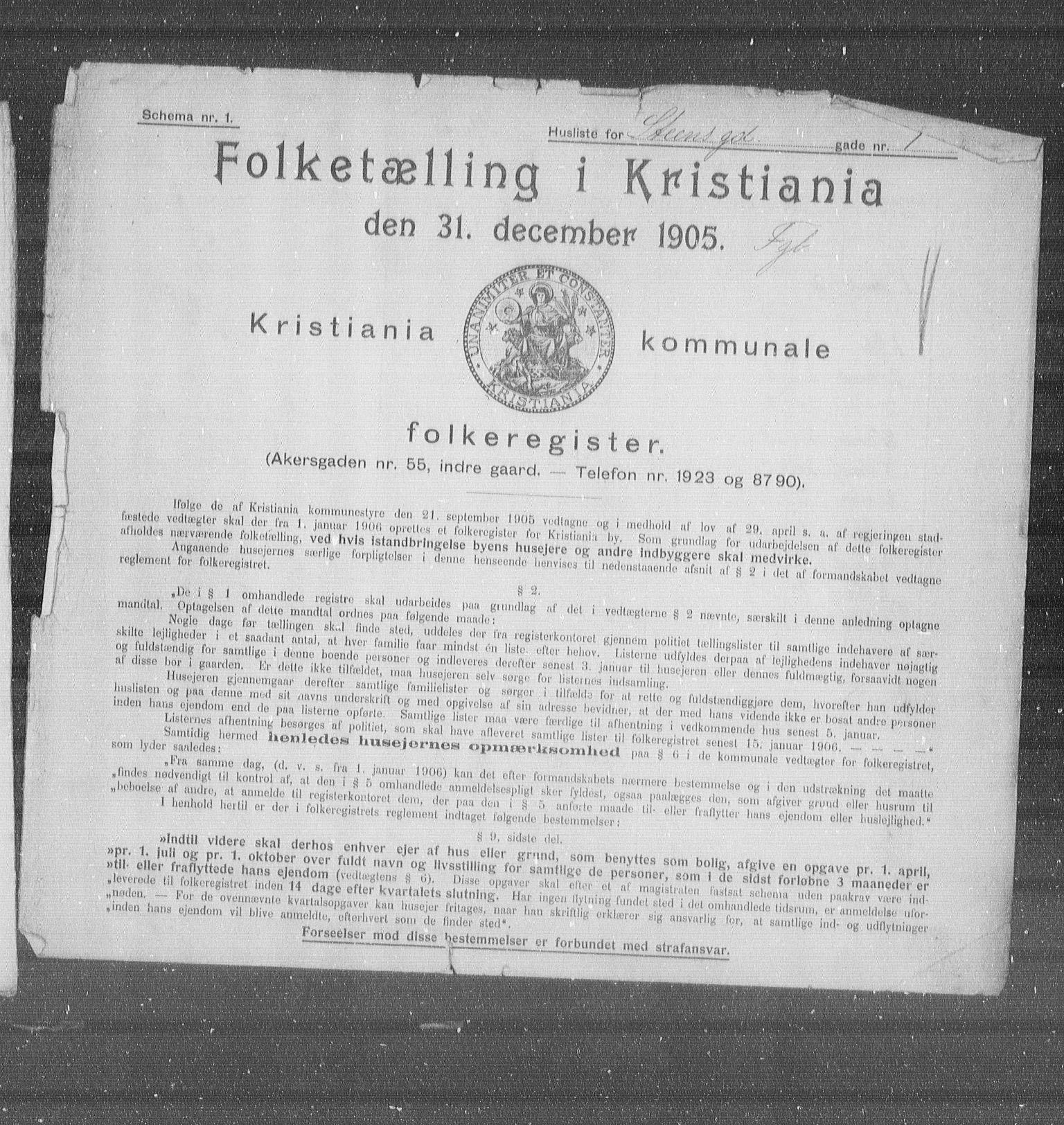 OBA, Municipal Census 1905 for Kristiania, 1905, p. 52327