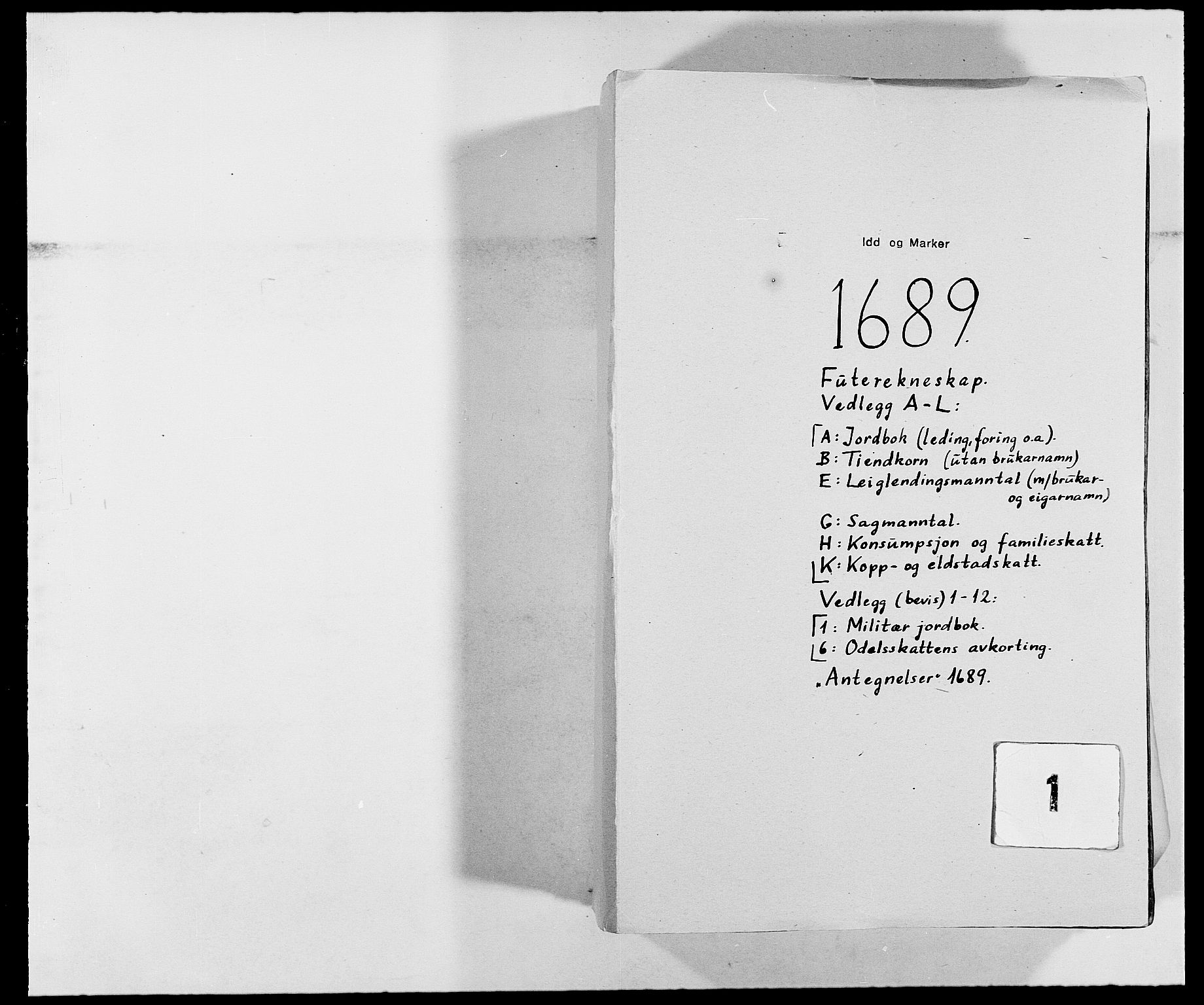 RA, Rentekammeret inntil 1814, Reviderte regnskaper, Fogderegnskap, R01/L0008: Fogderegnskap Idd og Marker, 1689, p. 1