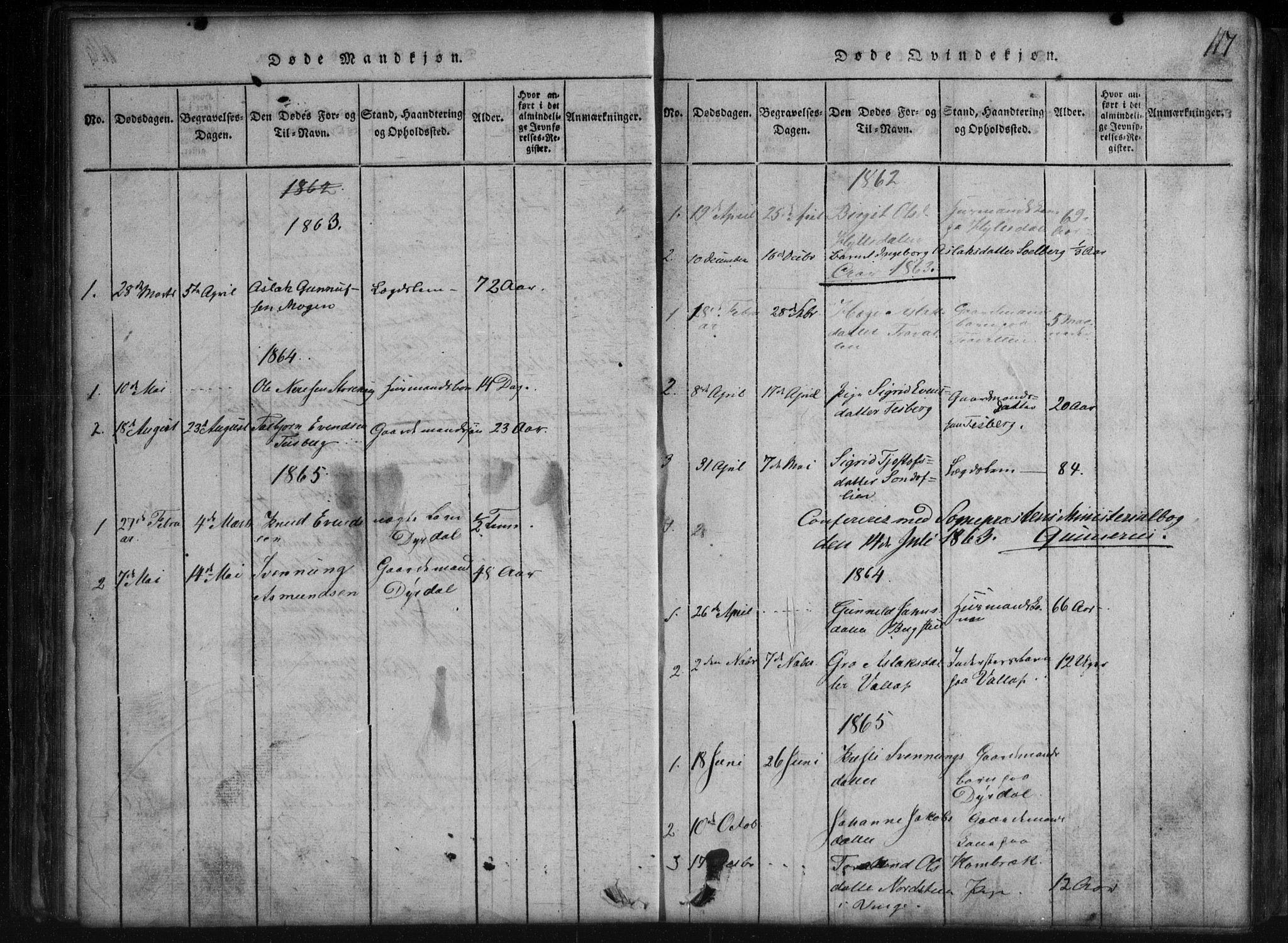 SAKO, Rauland kirkebøker, G/Gb/L0001: Parish register (copy) no. II 1, 1815-1886, p. 117