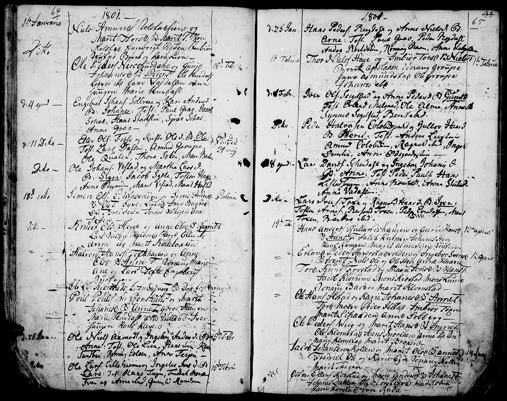 SAH, Fron prestekontor, H/Ha/Haa/L0001: Parish register (official) no. 1, 1799-1816, p. 64-65