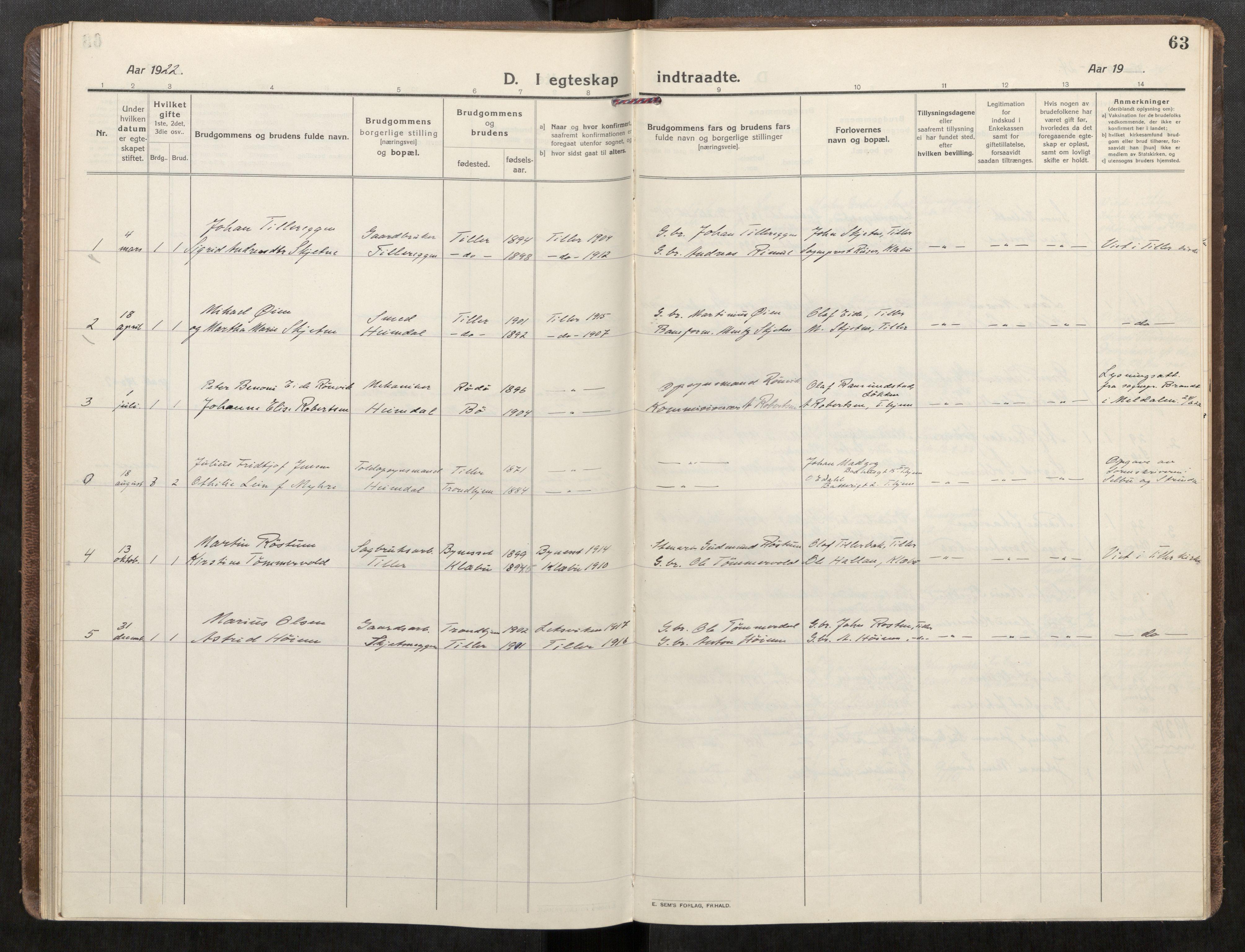 SAT, Klæbu sokneprestkontor, Parish register (official) no. 3, 1917-1924, p. 63
