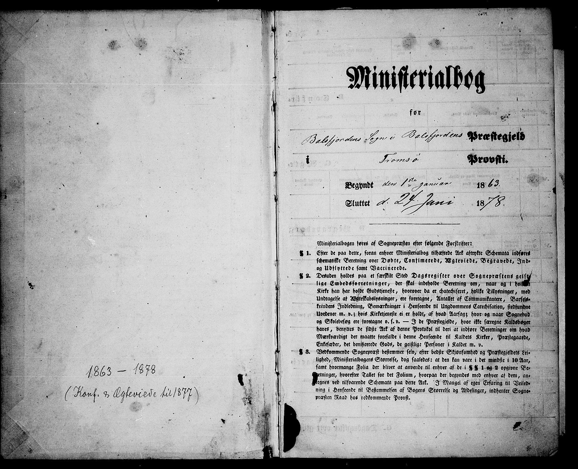 SATØ, Balsfjord sokneprestembete, Parish register (copy) no. 6, 1863-1878