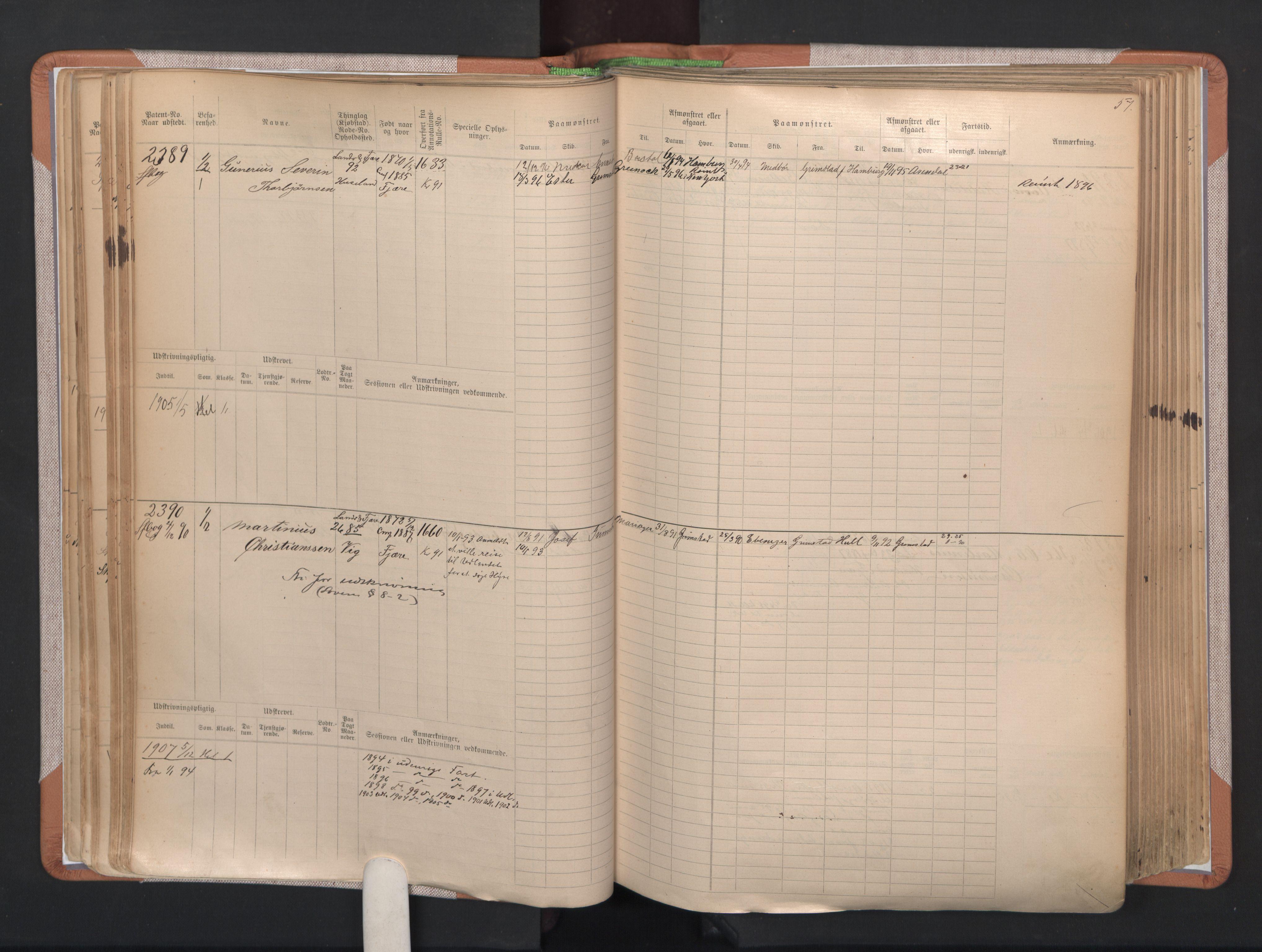 SAK, Grimstad mønstringskrets, F/Fb/L0004: Hovedrulle A nr 2277-3042, F-7, 1889-1940, p. 62
