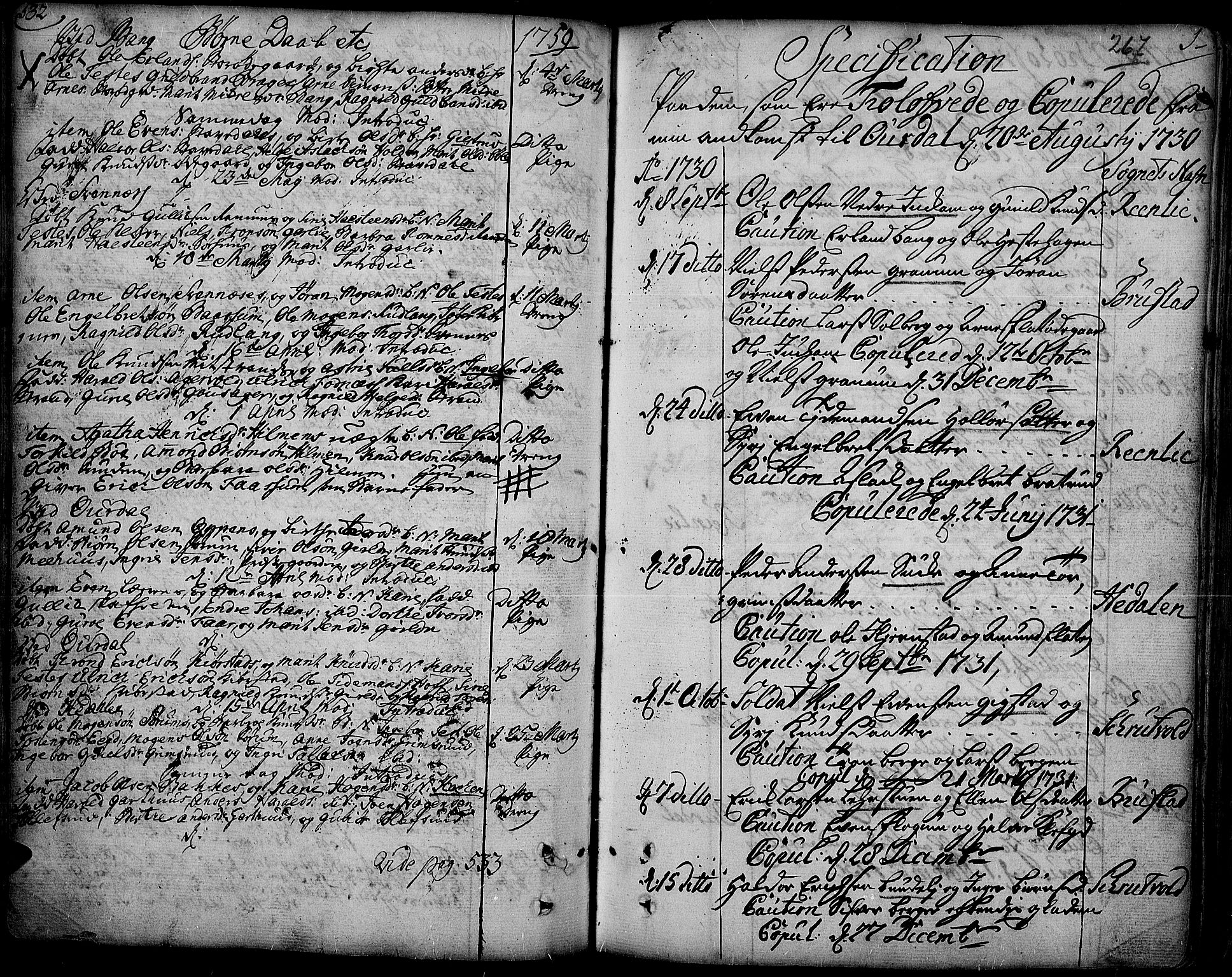 SAH, Aurdal prestekontor, Parish register (official) no. 4, 1730-1762, p. 532-1