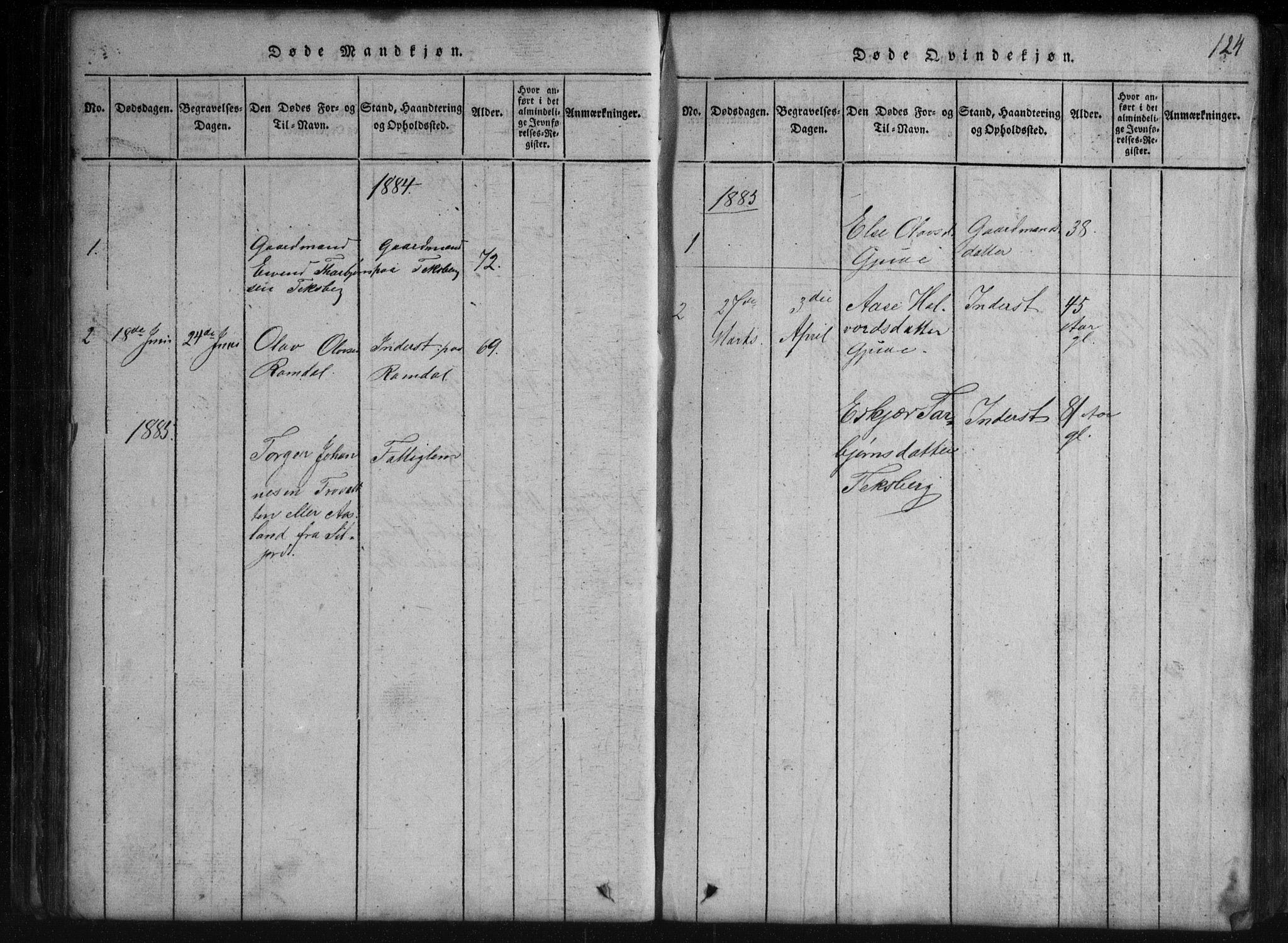 SAKO, Rauland kirkebøker, G/Gb/L0001: Parish register (copy) no. II 1, 1815-1886, p. 124