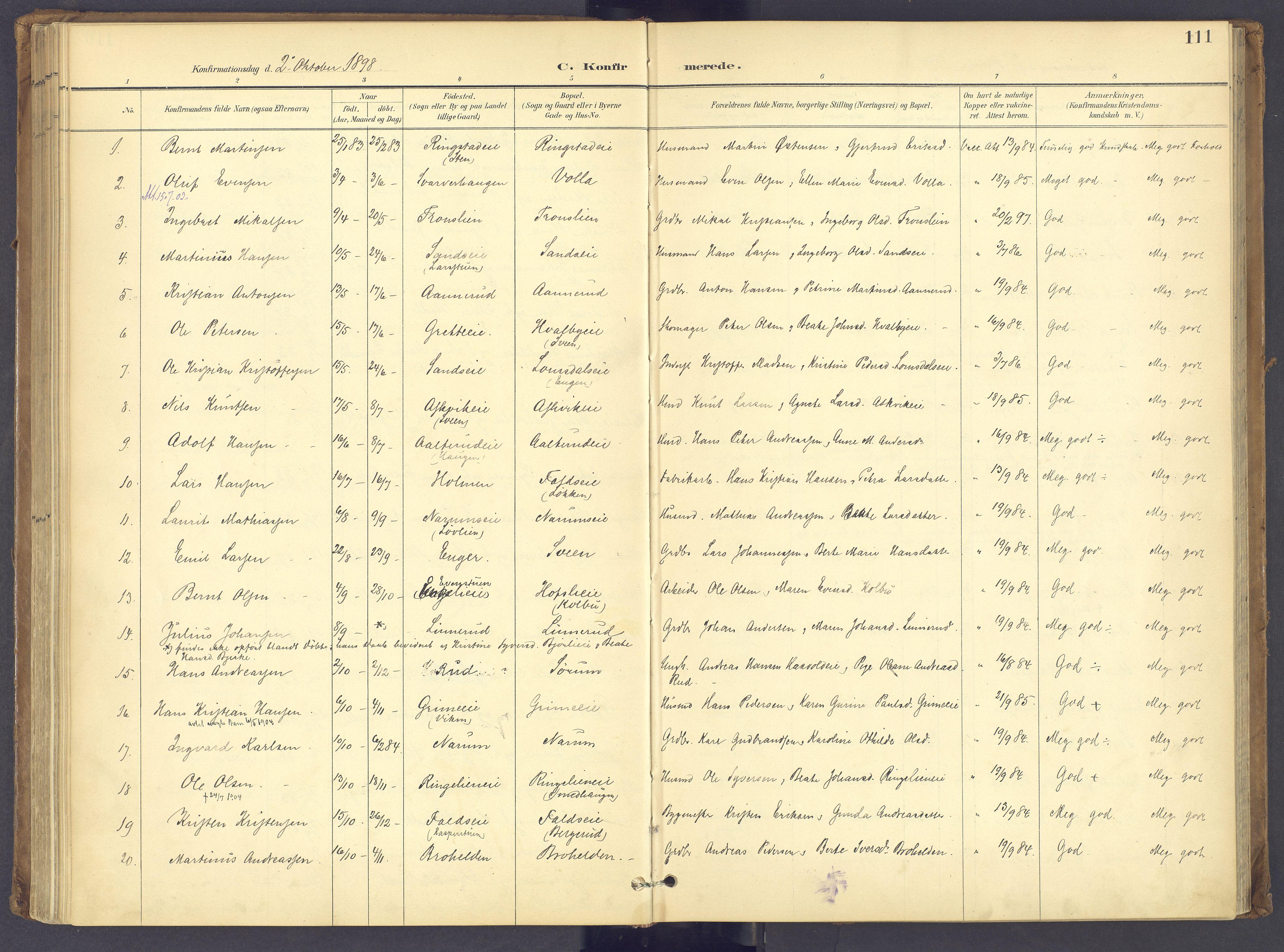 SAH, Søndre Land prestekontor, K/L0006: Parish register (official) no. 6, 1895-1904, p. 111