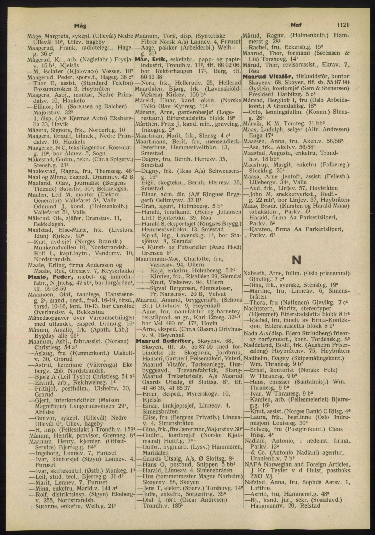 PUBL, Kristiania/Oslo adressebok, 1955, p. 1121
