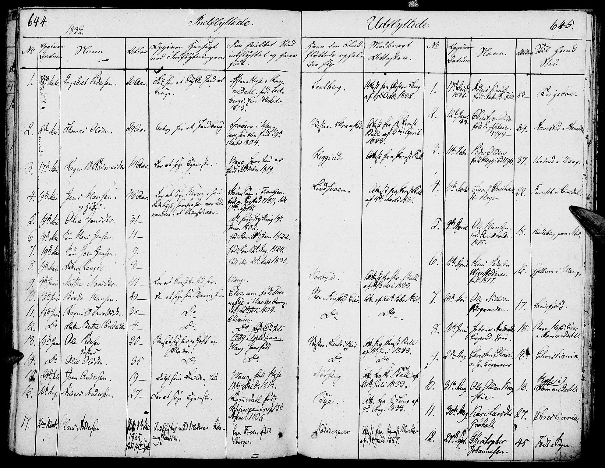 SAH, Løten prestekontor, K/Ka/L0006: Parish register (official) no. 6, 1832-1849, p. 644-645