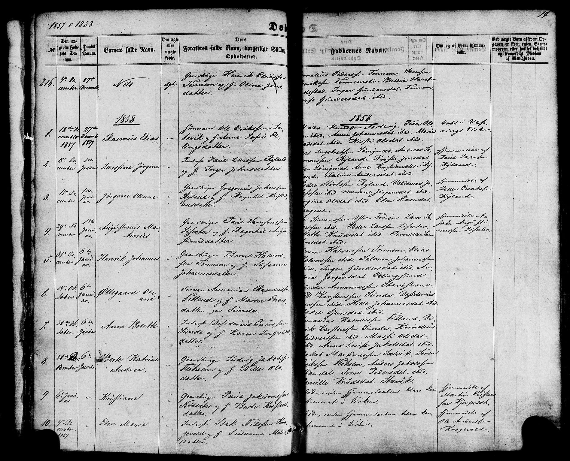 SAB, Kinn sokneprestembete, H/Haa/Haaa/L0006: Parish register (official) no. A 6, 1857-1885, p. 14