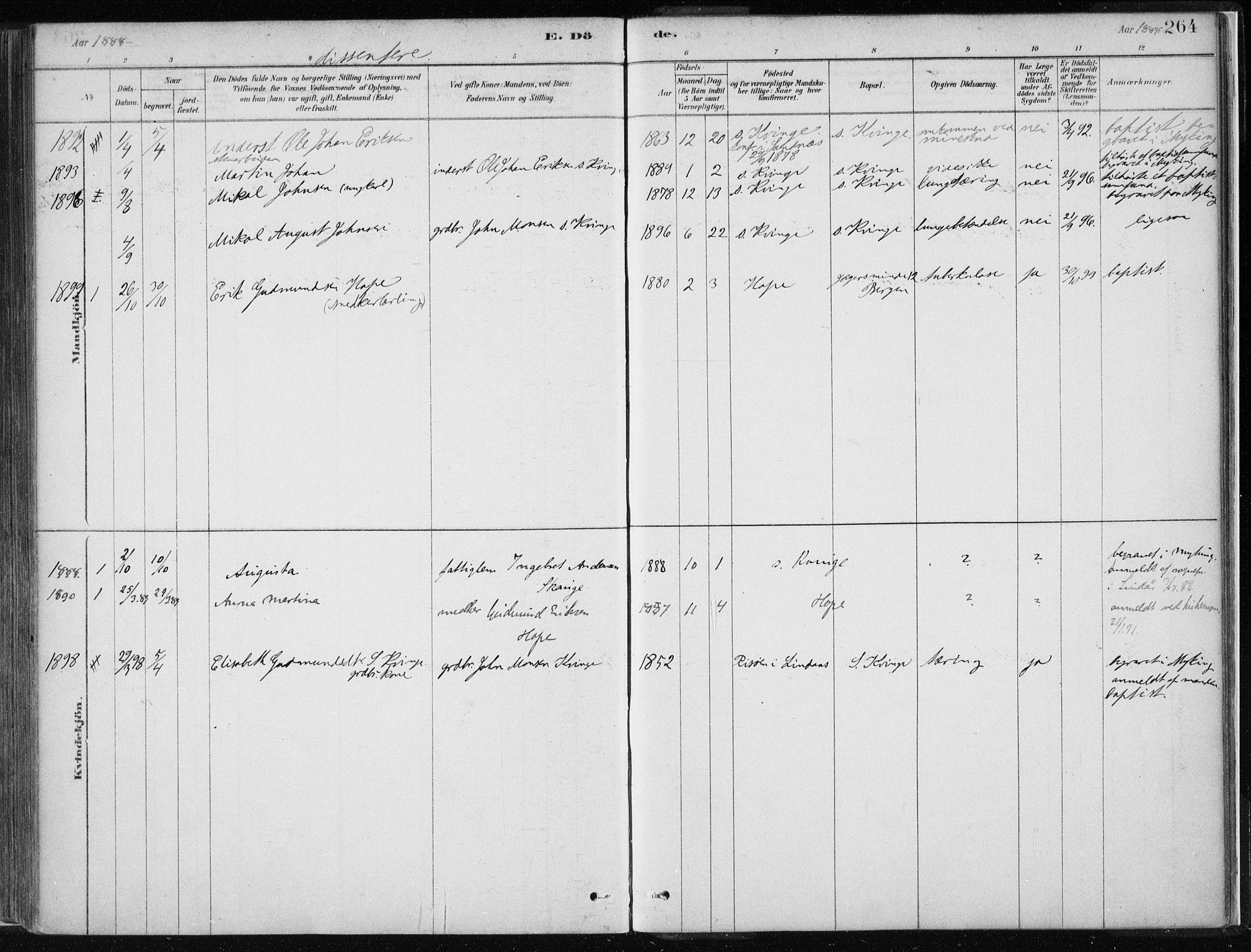 SAB, Masfjorden Soknepresembete, Parish register (official) no. B  1, 1876-1899, p. 264