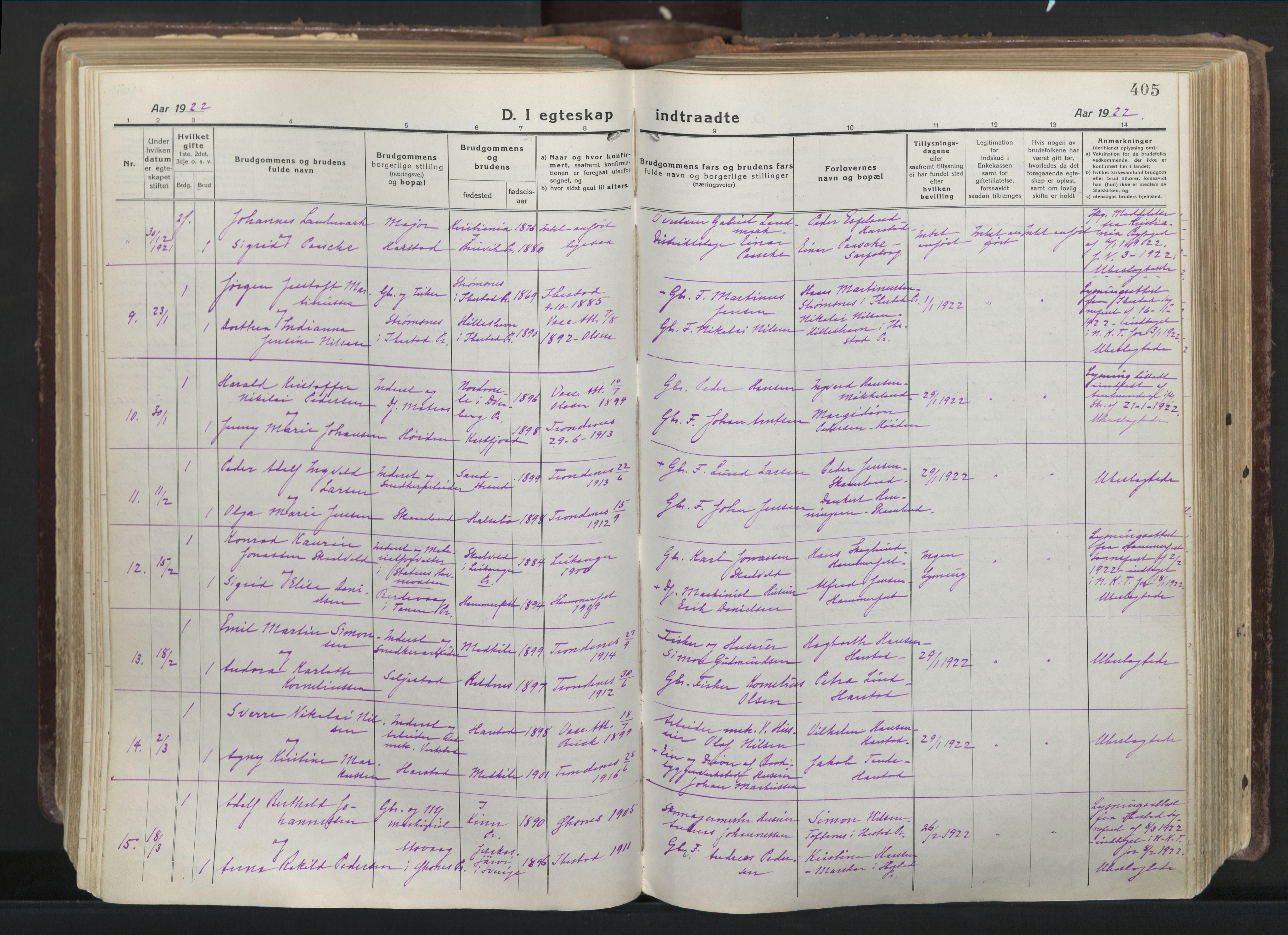 SATØ, Trondenes sokneprestkontor, H/Ha/L0019kirke: Parish register (official) no. 19, 1919-1928, p. 405