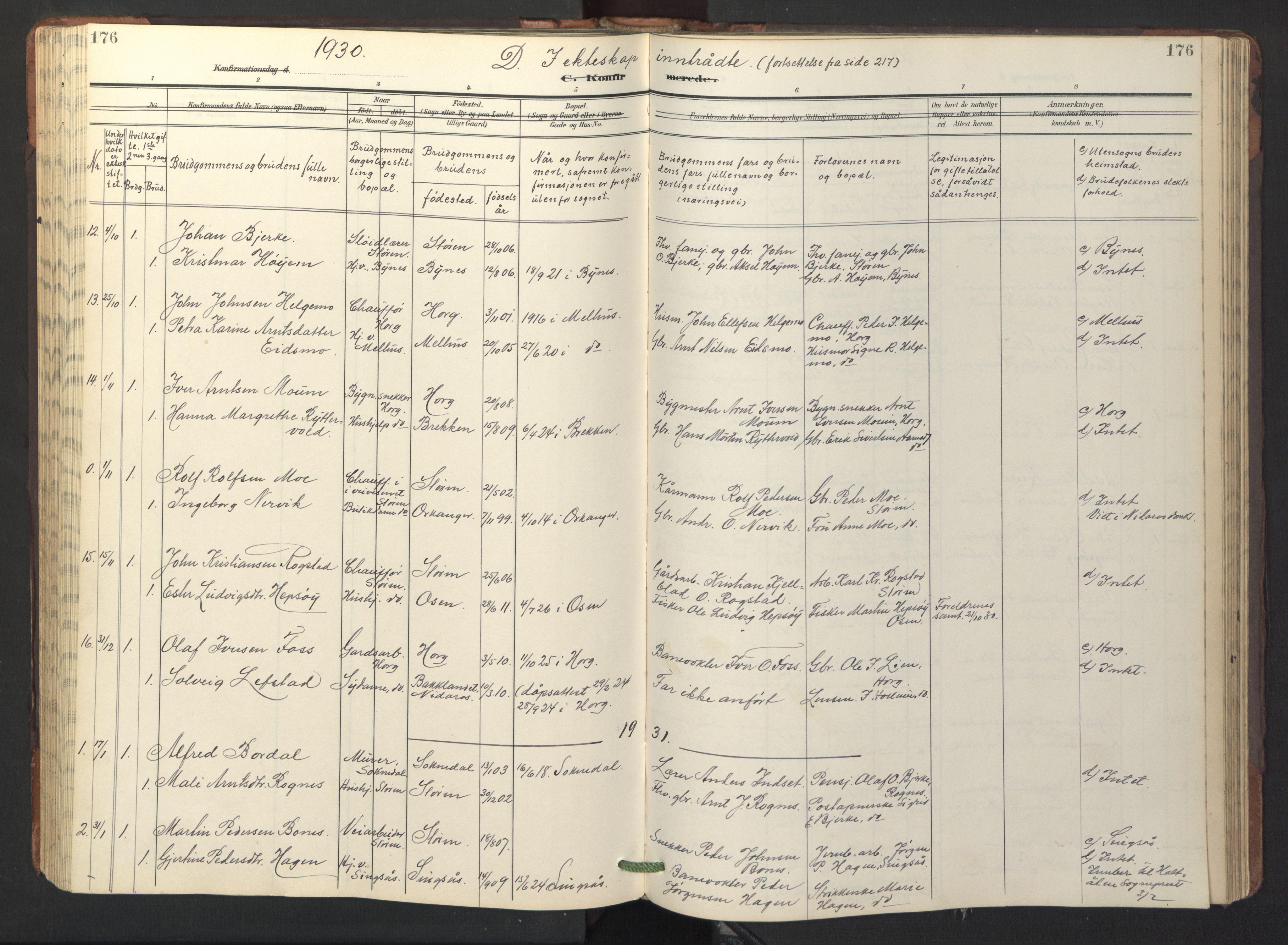 SAT, Ministerialprotokoller, klokkerbøker og fødselsregistre - Sør-Trøndelag, 687/L1019: Parish register (copy) no. 687C03, 1904-1931, p. 176