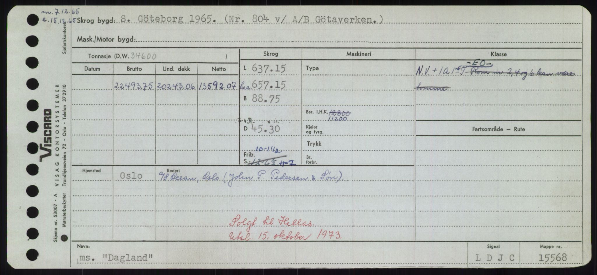 RA, Sjøfartsdirektoratet med forløpere, Skipsmålingen, H/Hd/L0008: Fartøy, C-D, p. 335