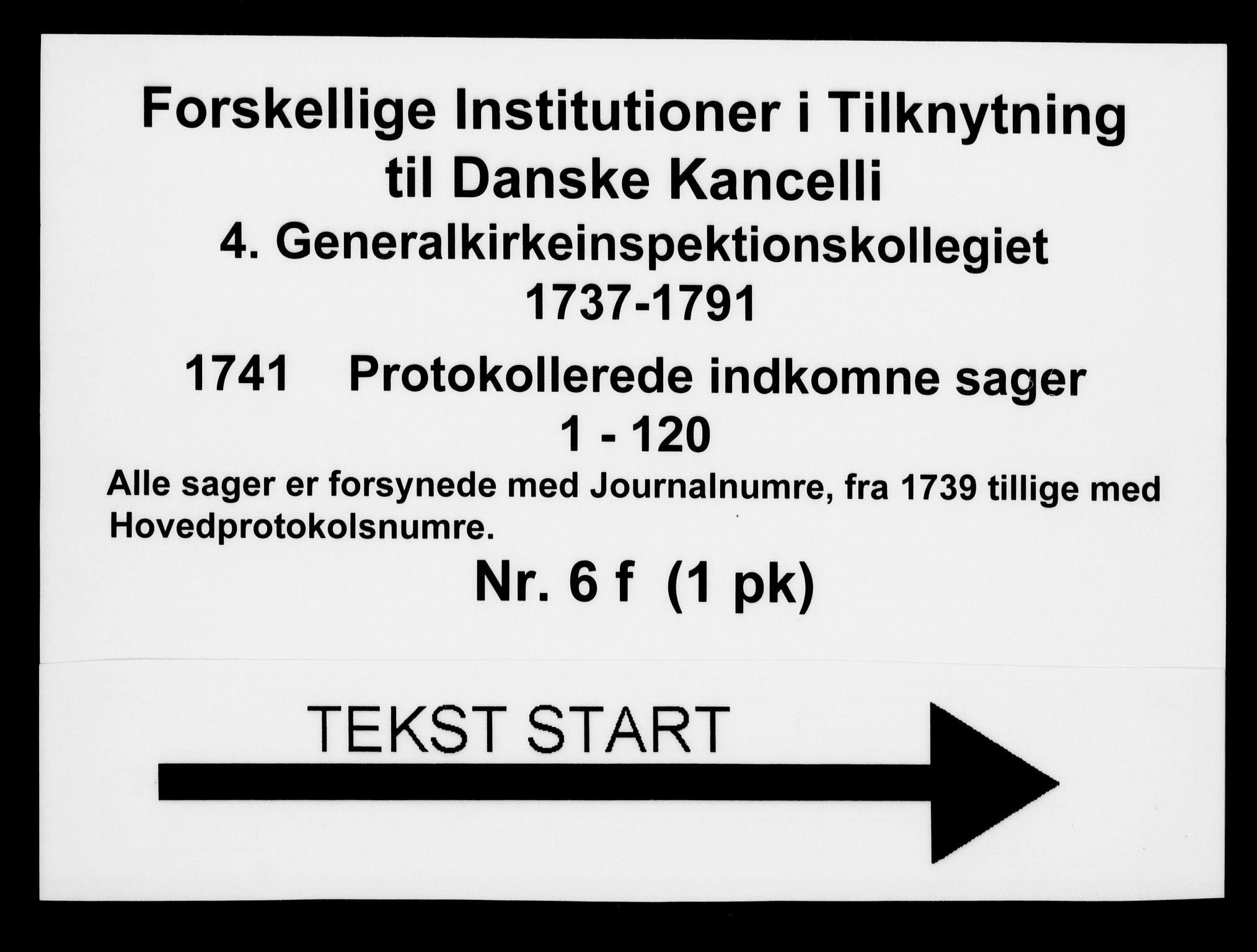 DRA, Generalkirkeinspektionskollegiet, F4-06/F4-06-06: Protokollerede indkomne sager, 1741