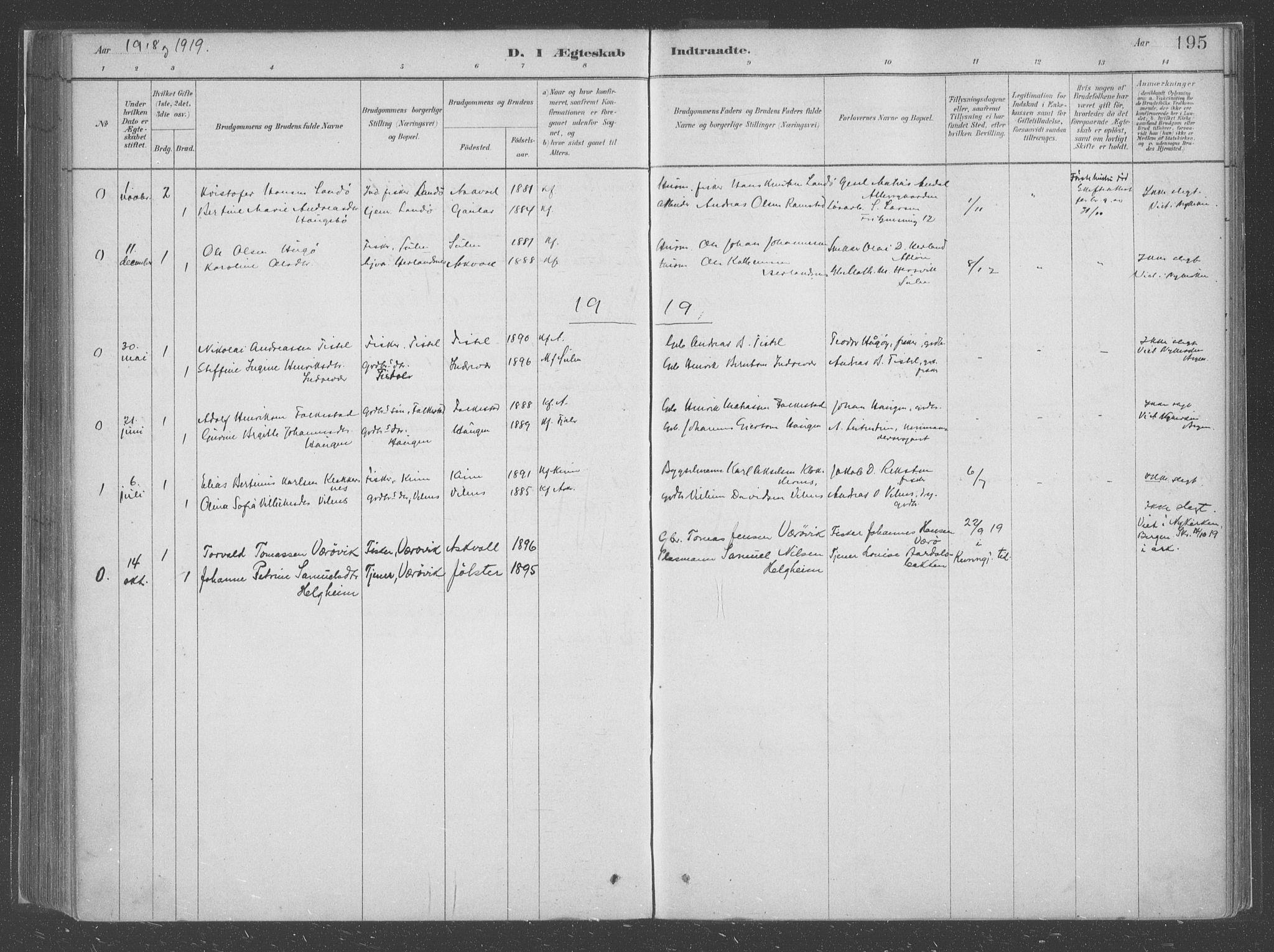 SAB, Askvoll Sokneprestembete, Parish register (official) no. C  1, 1879-1922, p. 195