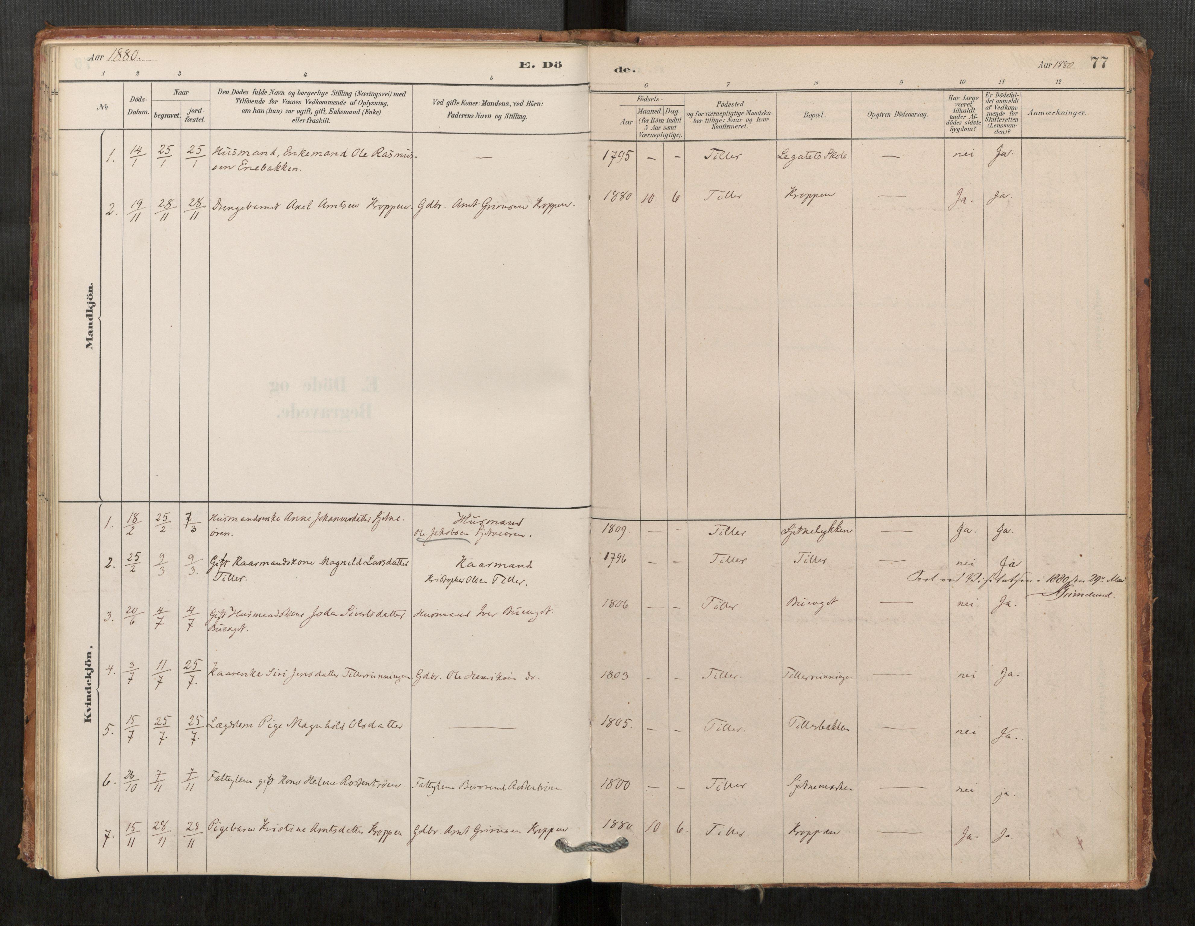 SAT, Klæbu sokneprestkontor, Parish register (official) no. 1, 1880-1900, p. 77