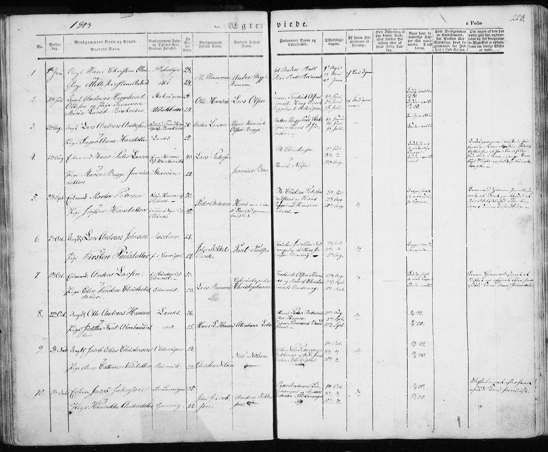 SATØ, Karlsøy sokneprestembete, Parish register (official) no. 3, 1843-1860, p. 223