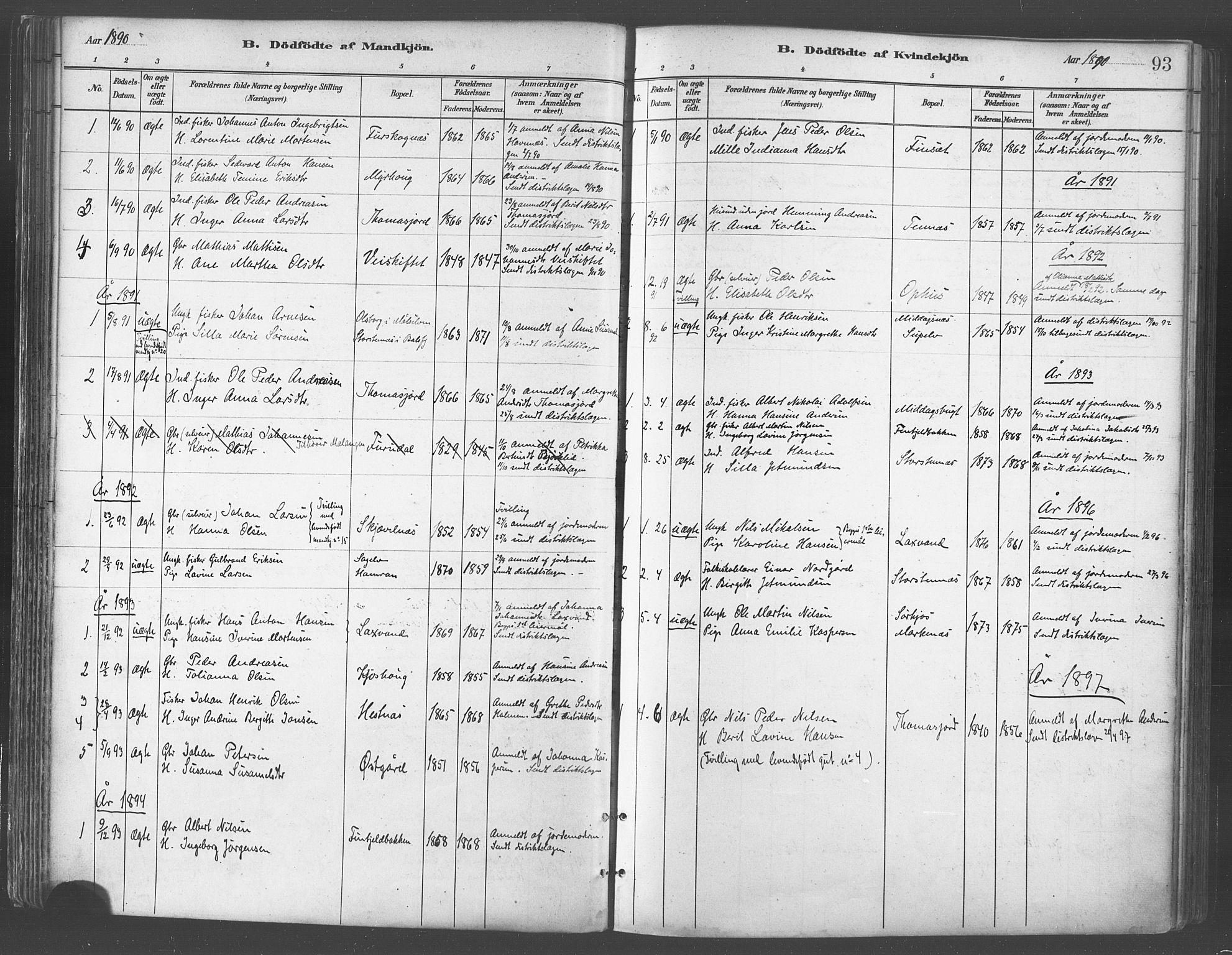 SATØ, Balsfjord sokneprestembete, Parish register (official) no. 5, 1884-1897, p. 93
