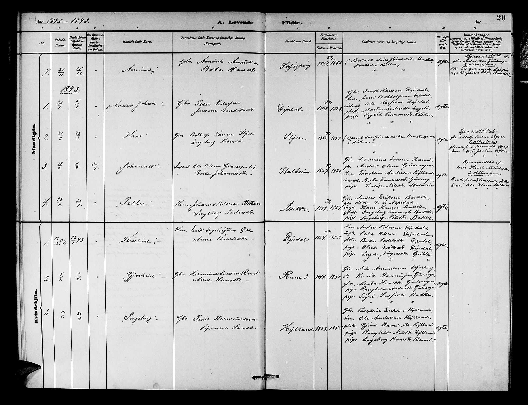 SAB, Aurland sokneprestembete, H/Hb/Hbc/L0002: Parish register (copy) no. C 2, 1883-1900, p. 20