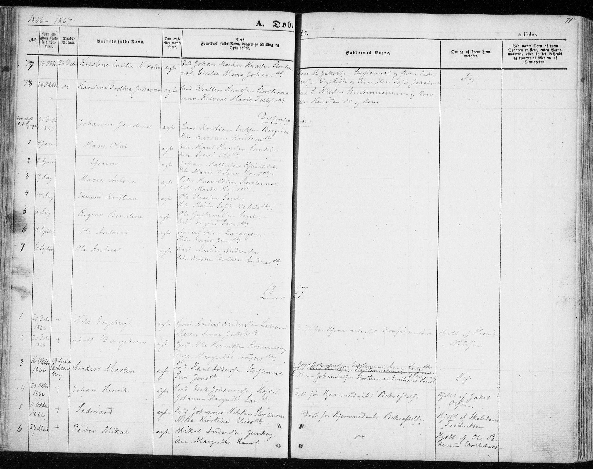 SATØ, Balsfjord sokneprestembete, Parish register (official) no. 3, 1856-1870, p. 71