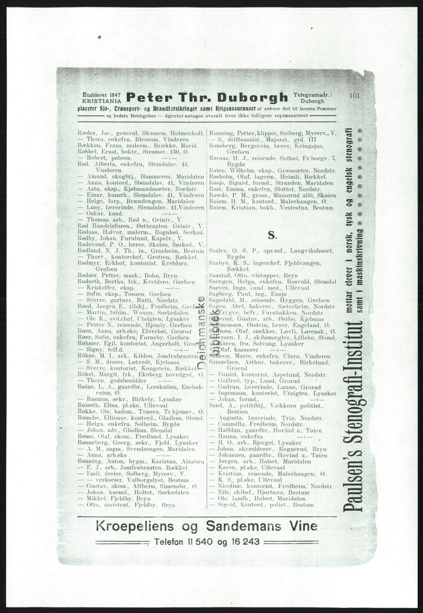 RA, Aker adressebok/adressekalender (publikasjon)*, 1916-1917, p. 101