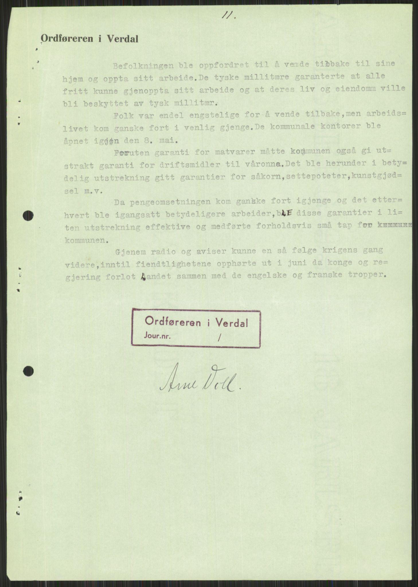 RA, Forsvaret, Forsvarets krigshistoriske avdeling, Y/Ya/L0016: II-C-11-31 - Fylkesmenn.  Rapporter om krigsbegivenhetene 1940., 1940, p. 603