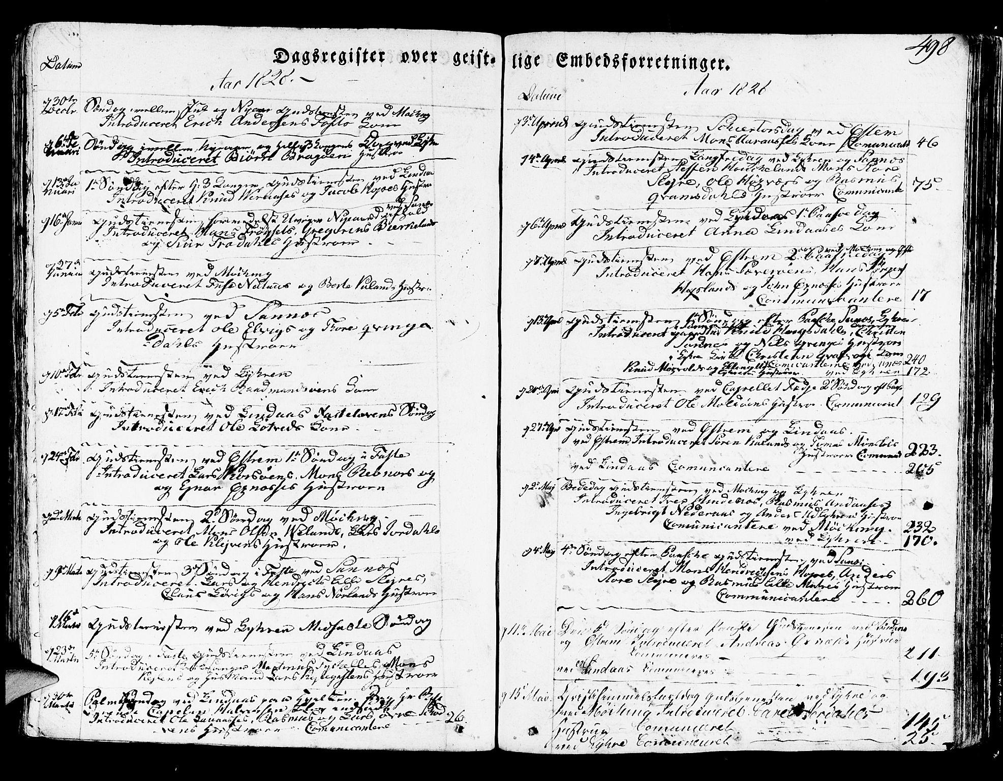 SAB, Lindås Sokneprestembete, H/Haa: Parish register (official) no. A 8, 1823-1836, p. 498