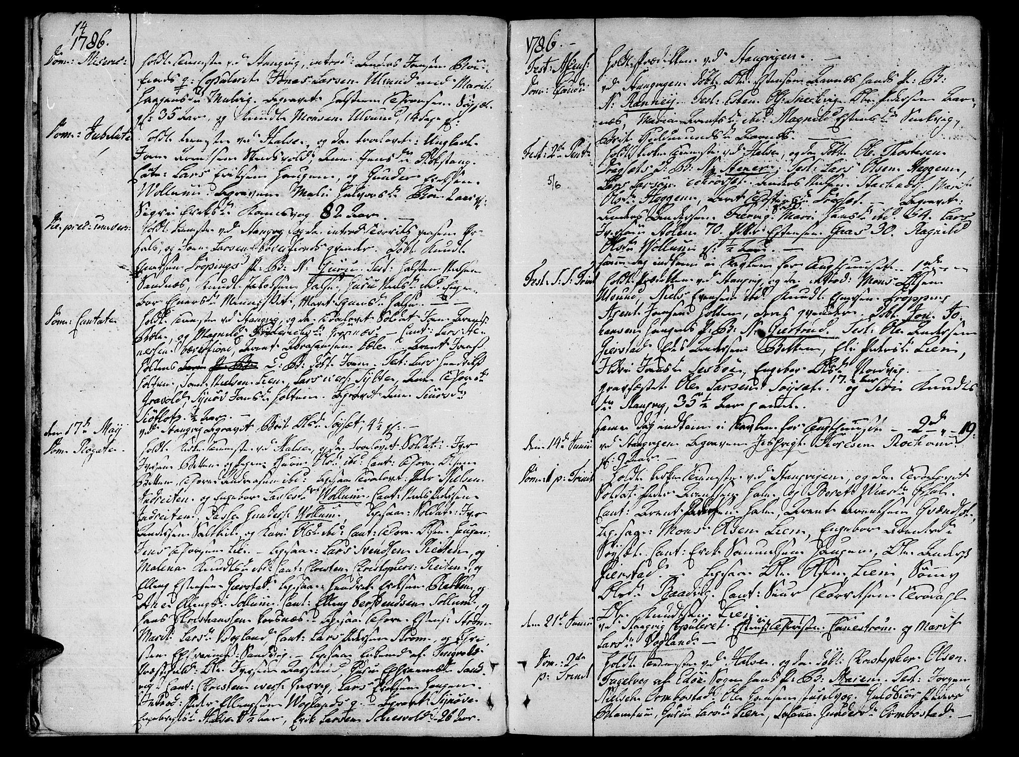SAT, Ministerialprotokoller, klokkerbøker og fødselsregistre - Møre og Romsdal, 592/L1022: Parish register (official) no. 592A01, 1784-1819, p. 14