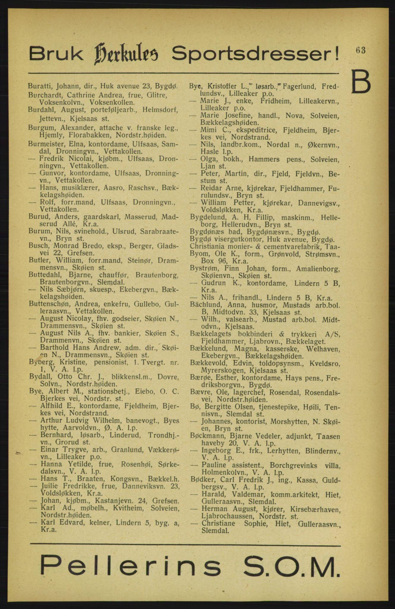 RA, Aker adressebok/adressekalender (publikasjon)*, 1922, p. 63