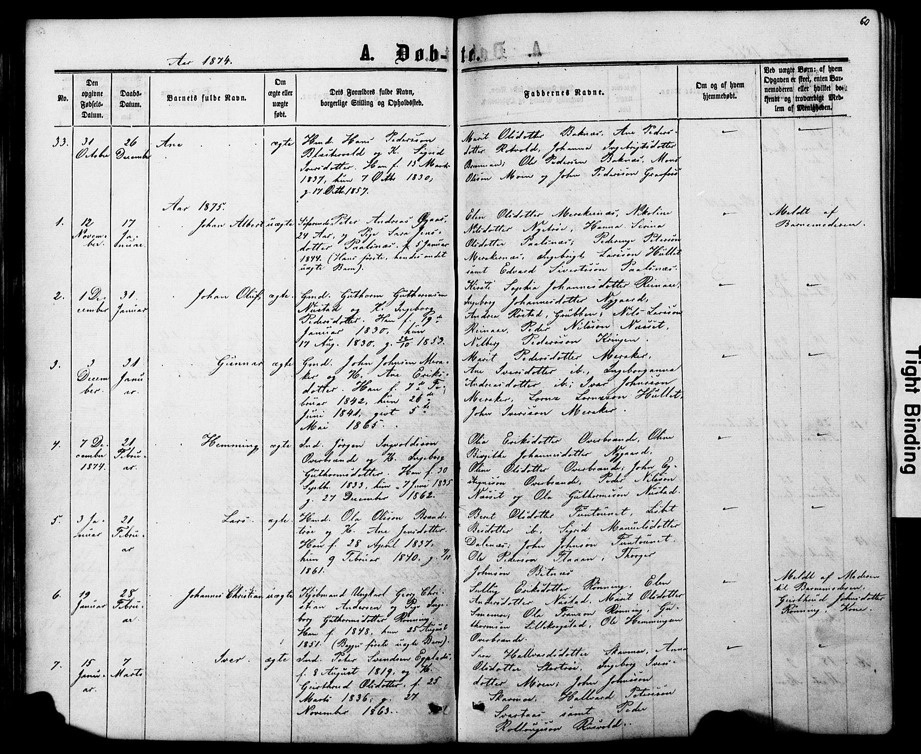 SAT, Ministerialprotokoller, klokkerbøker og fødselsregistre - Nord-Trøndelag, 706/L0049: Parish register (copy) no. 706C01, 1864-1895, p. 60