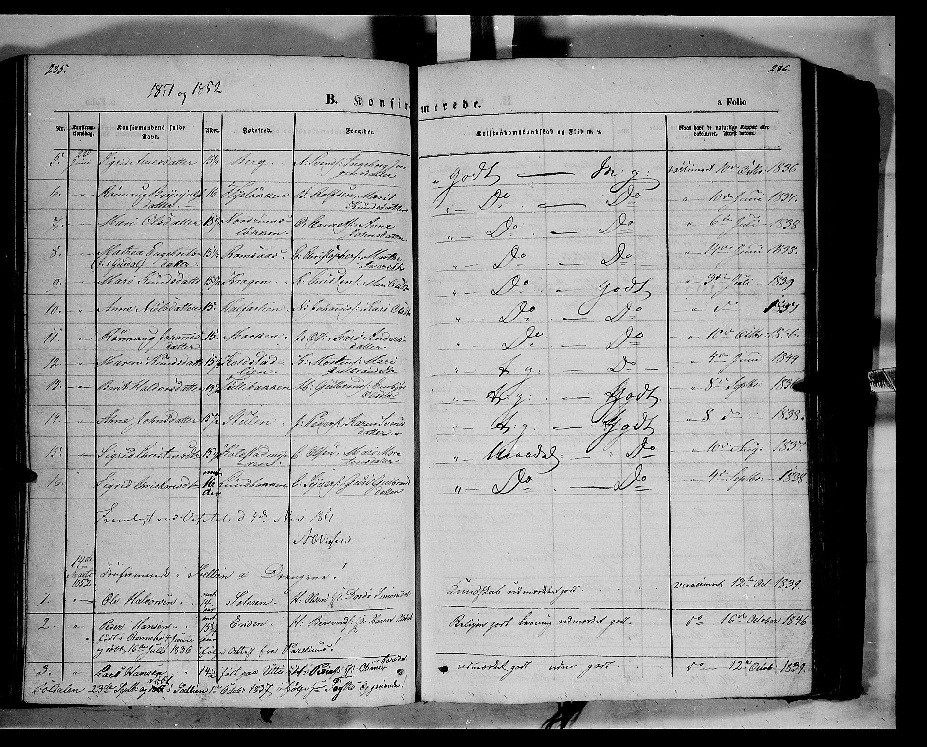SAH, Ringebu prestekontor, Parish register (official) no. 6, 1848-1859, p. 285-286