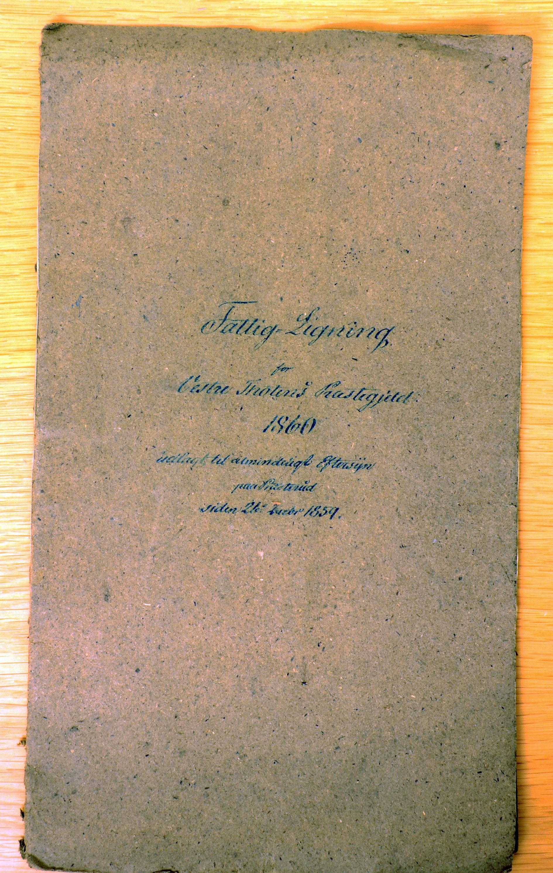 KVT, Vestre Toten kommunearkiv*, -: Fattigligning for Vestre Toten prestegjeld, 1860, p. 1