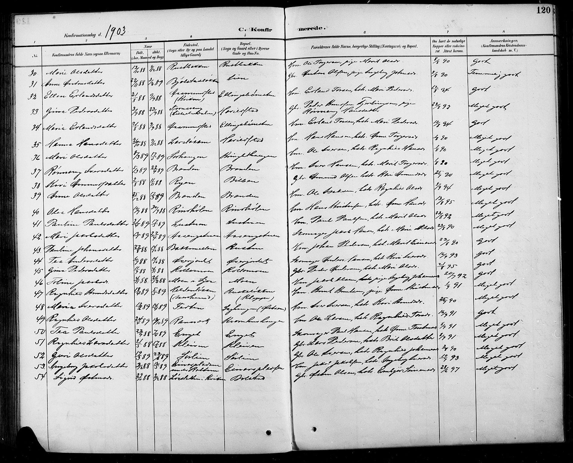 SAH, Sel prestekontor, Parish register (copy) no. 5, 1894-1923, p. 120