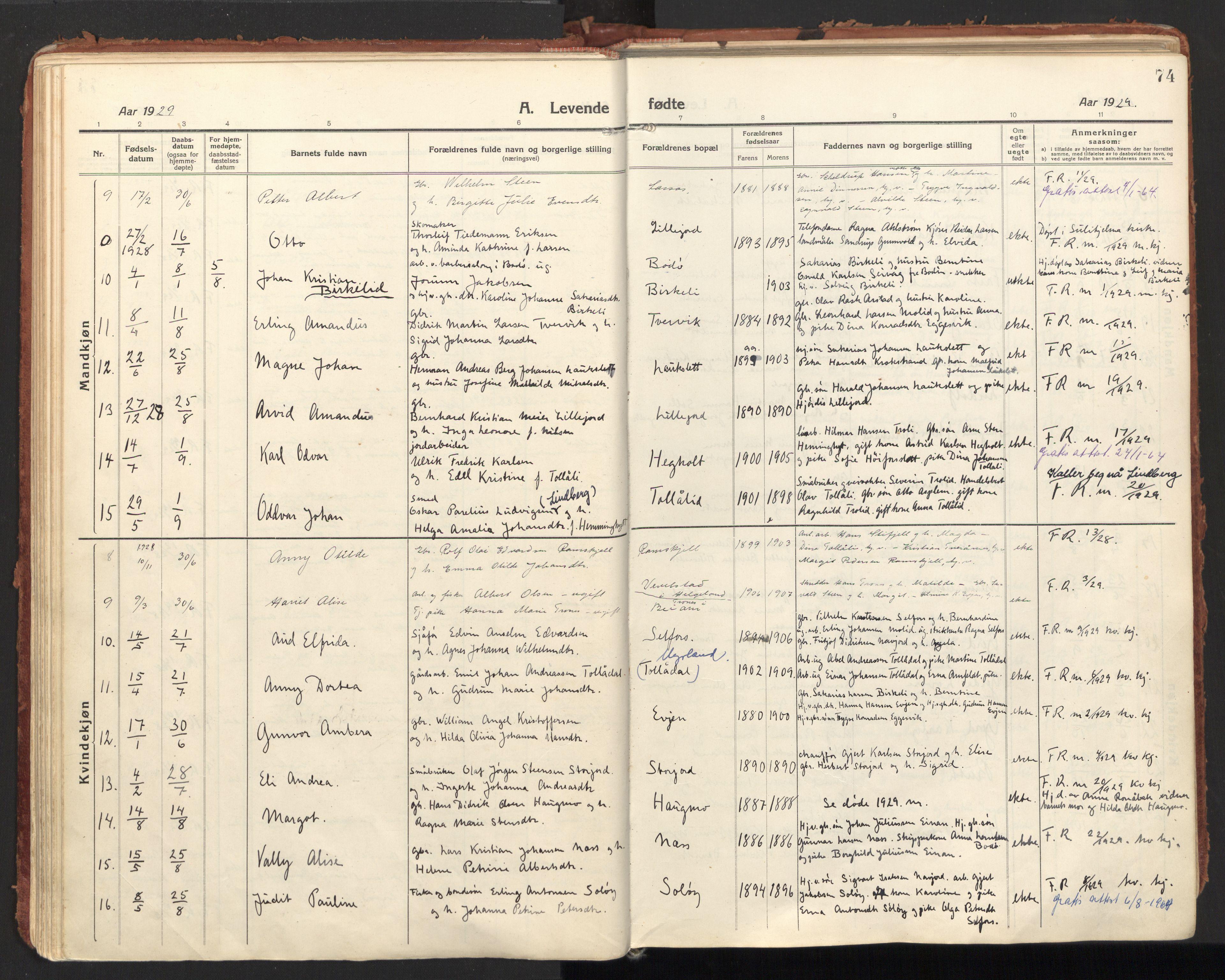 SAT, Ministerialprotokoller, klokkerbøker og fødselsregistre - Nordland, 846/L0650: Parish register (official) no. 846A08, 1916-1935, p. 74