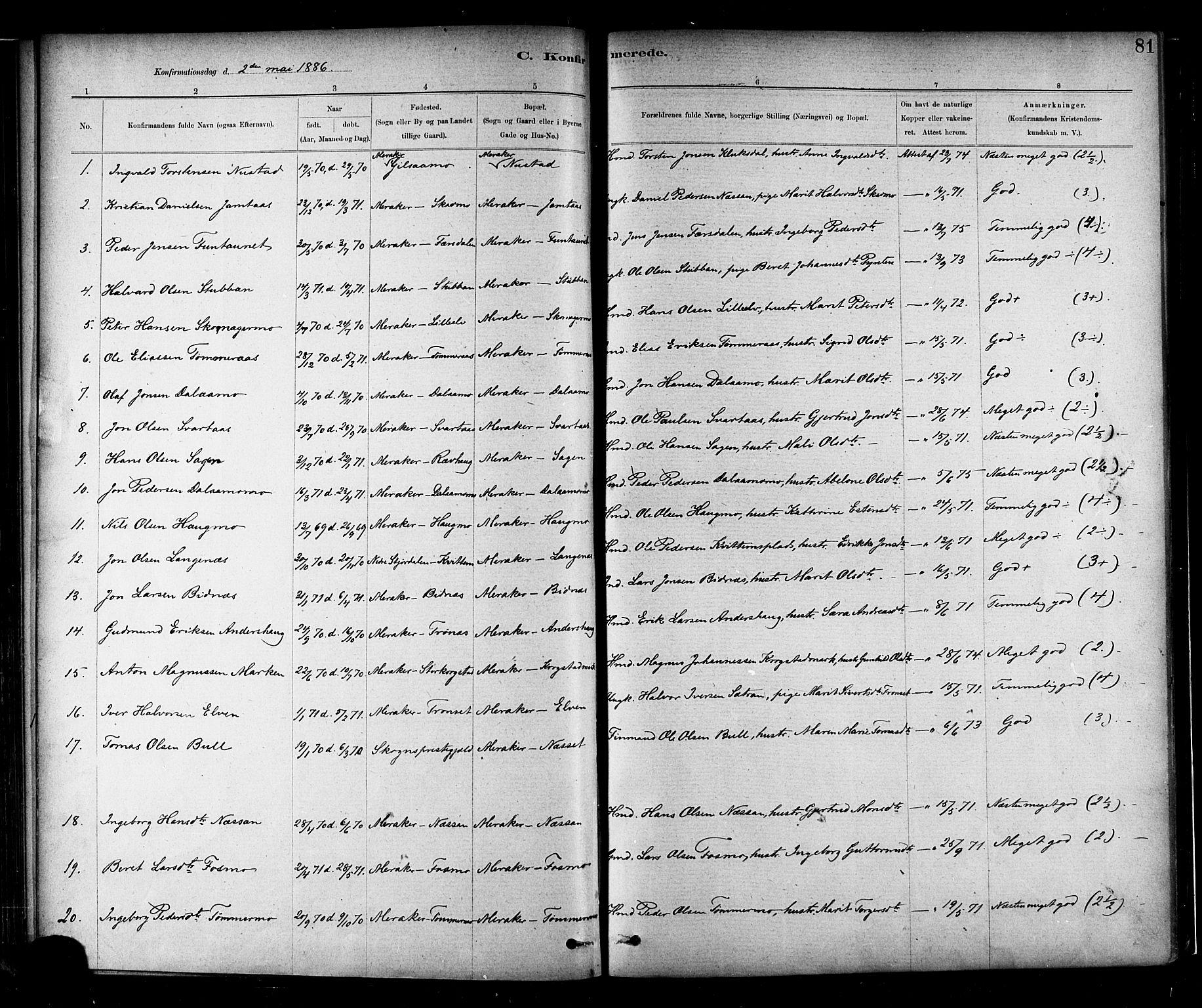SAT, Ministerialprotokoller, klokkerbøker og fødselsregistre - Nord-Trøndelag, 706/L0047: Parish register (official) no. 706A03, 1878-1892, p. 81