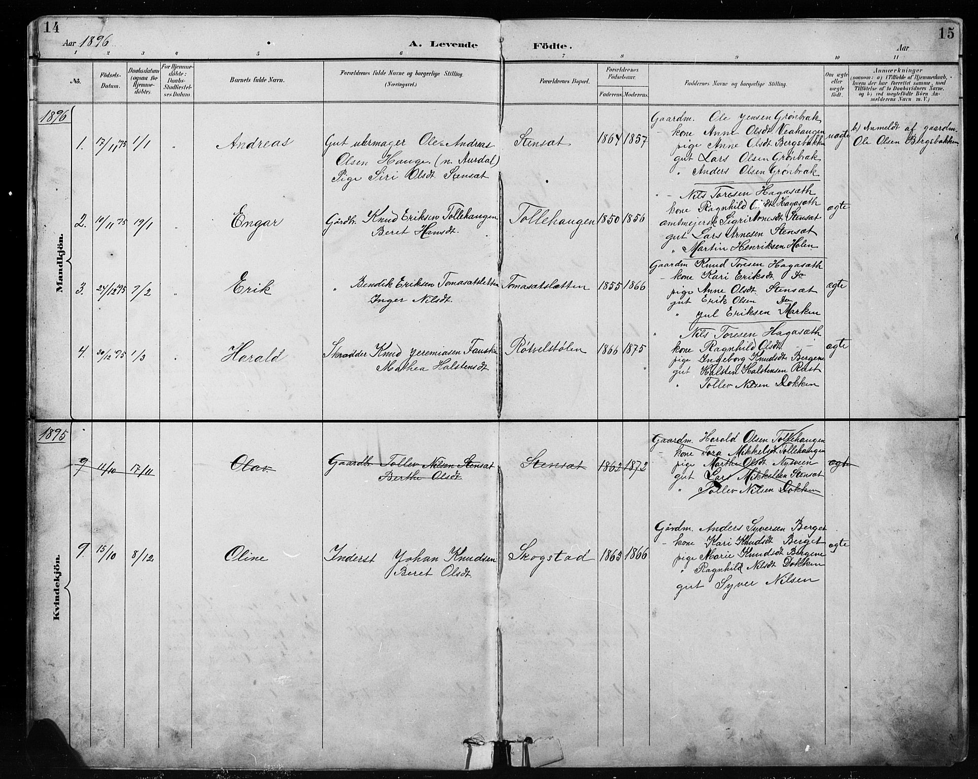 SAH, Etnedal prestekontor, H/Ha/Hab/Habb/L0001: Parish register (copy) no. II 1, 1894-1911, p. 14-15